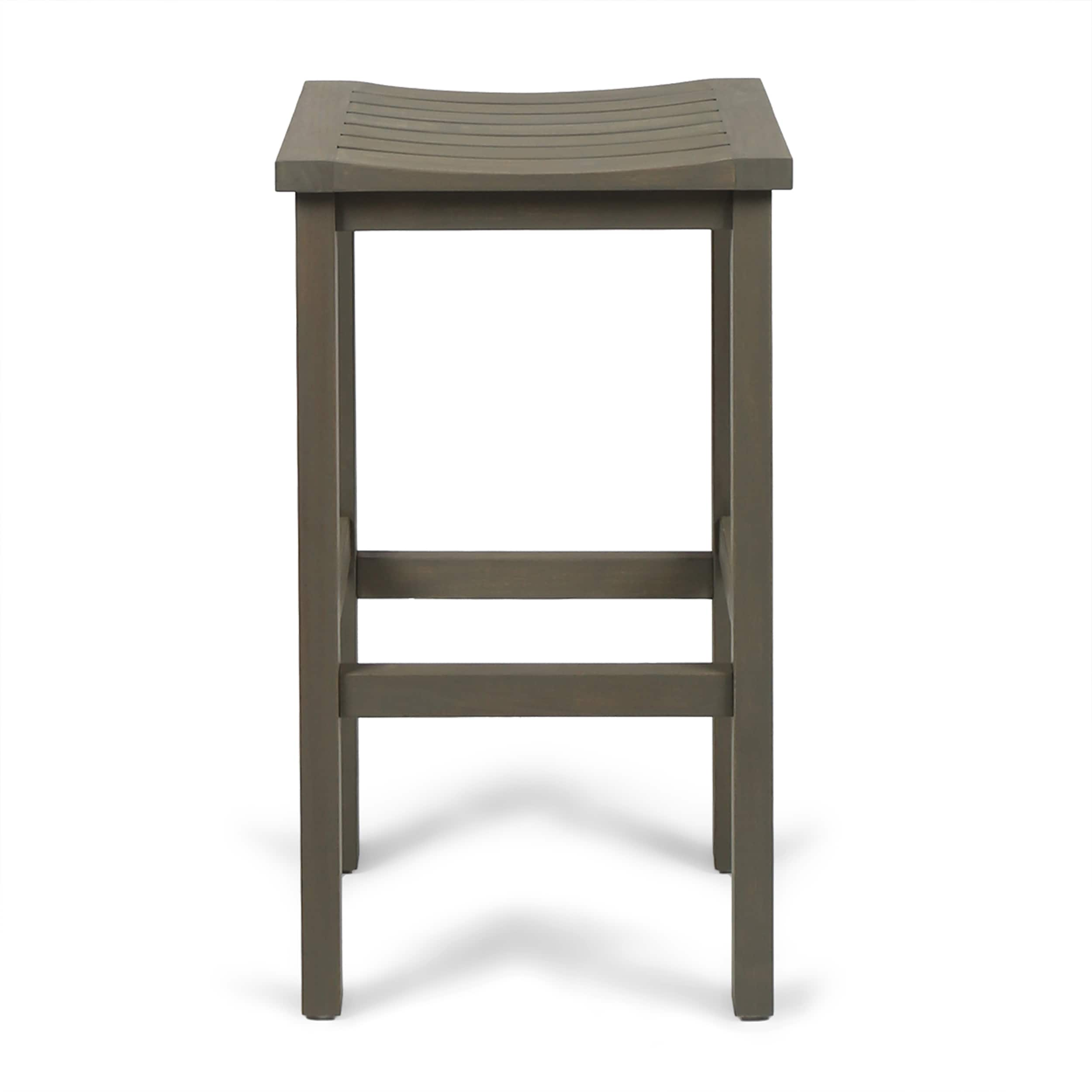 Caribbean Outdoor 30-inch Acacia Wood Barstool (Set of 4) by ...