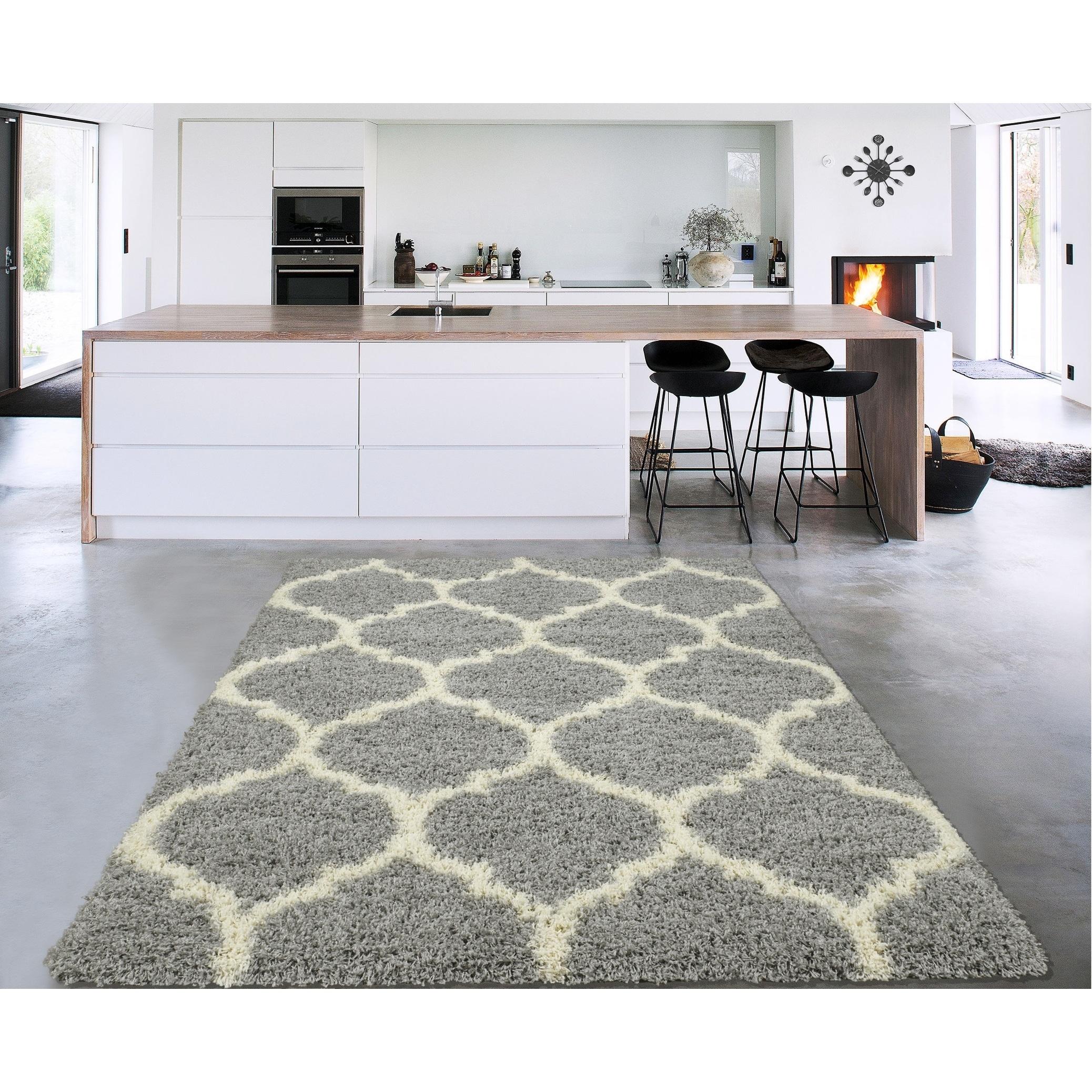 Sweethome Stores Cozy Trellis Design Shag Area Rug - 3\'3\