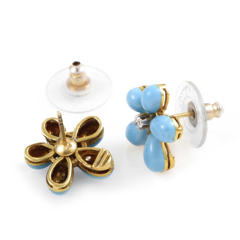 Yellow Gold Diamond Turquoise Flower Earrings Sn0099907ab Free