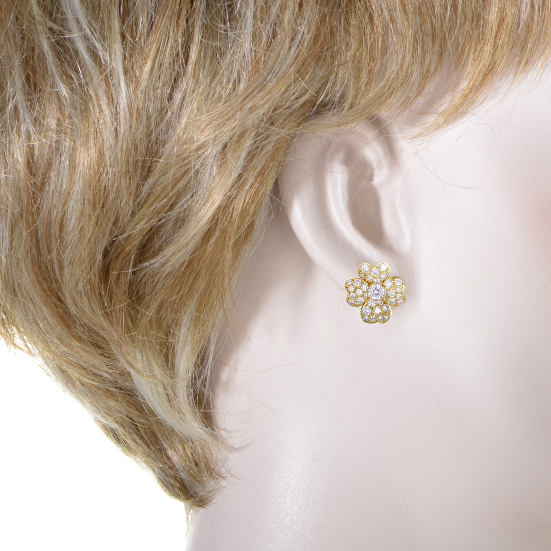 ef24cc6e7f9 Shop Van Cleef   Arpels Cosmos Yellow Gold Full Diamond Pave Flower Earrings  - Free Shipping Today - Overstock - 20505595