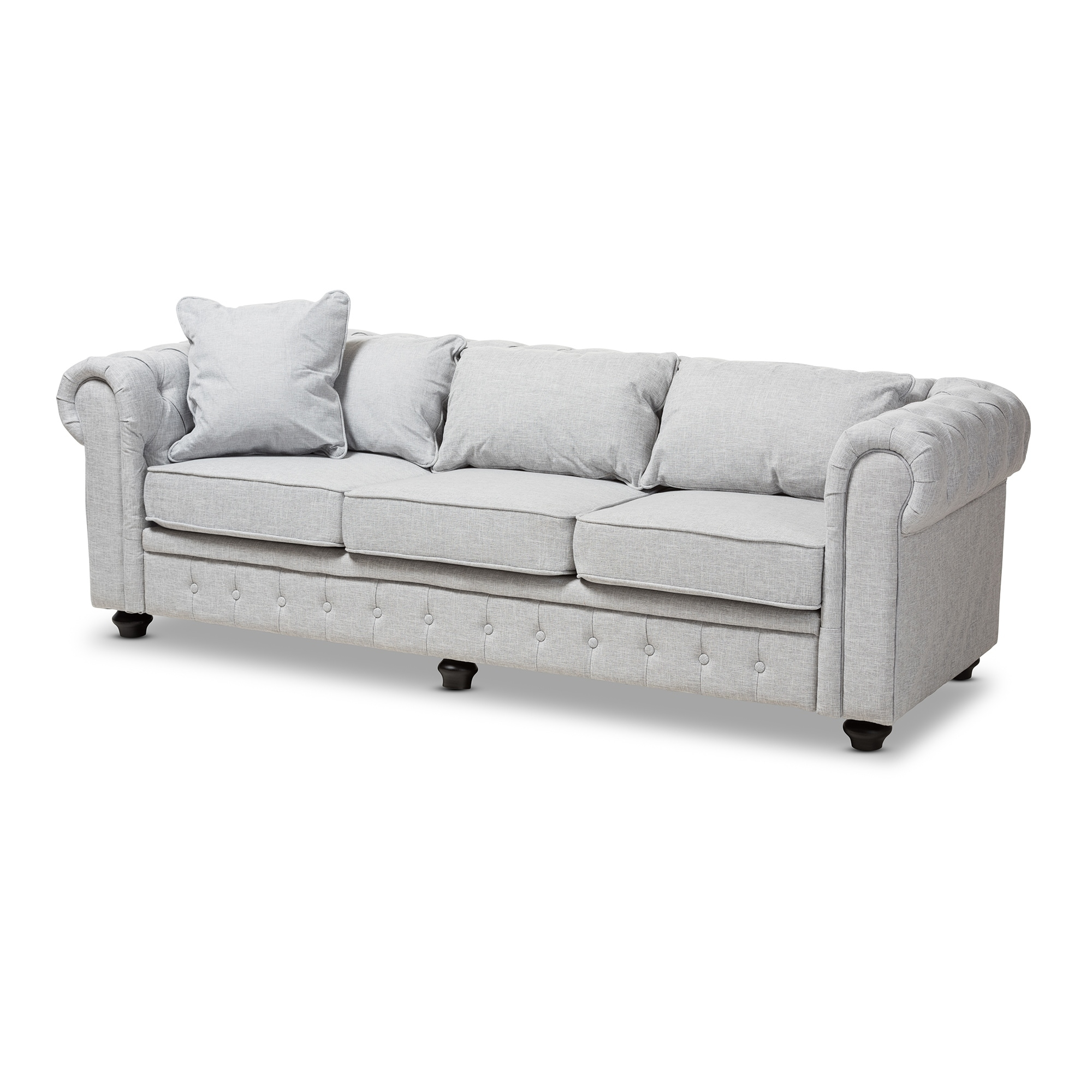 Modern Linen Chesterfield Sofa By Baxton Studio Free Shipping Today 20506530