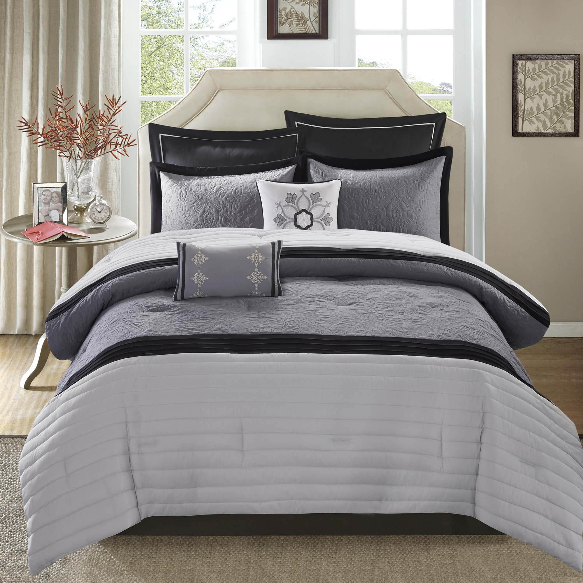white king and products in black bwt comforter piece set leaf vcny gray bed a home bw bag sets