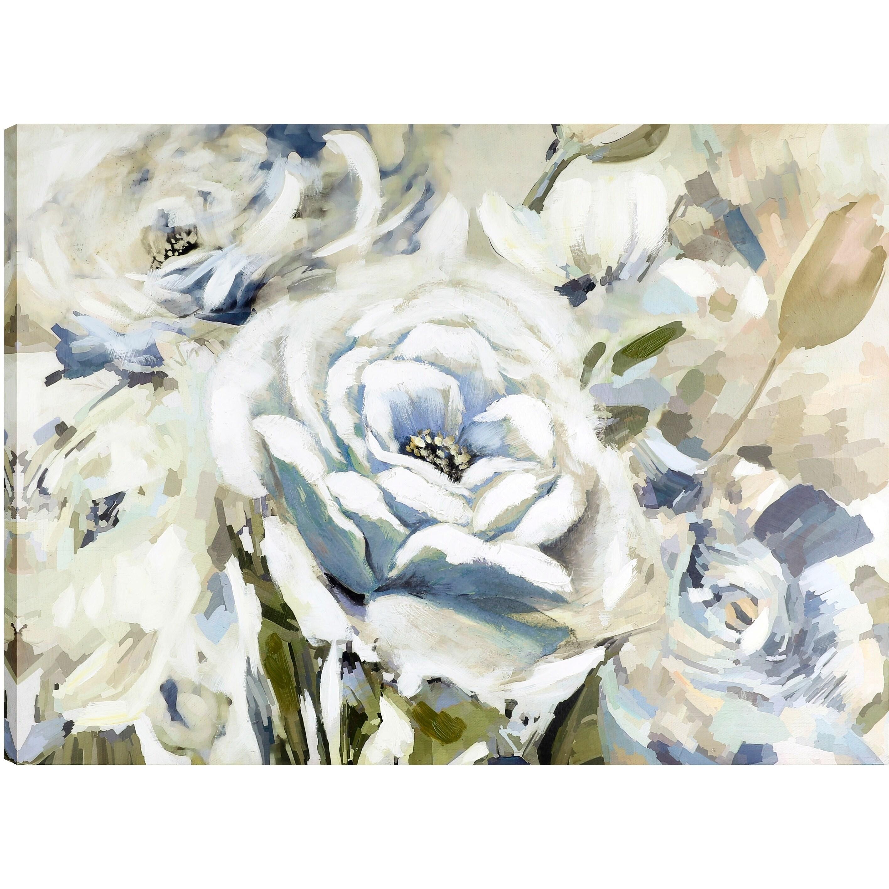 Shop The White Flower Ii Floral Art Fresh Canvas Oil Paint Wall