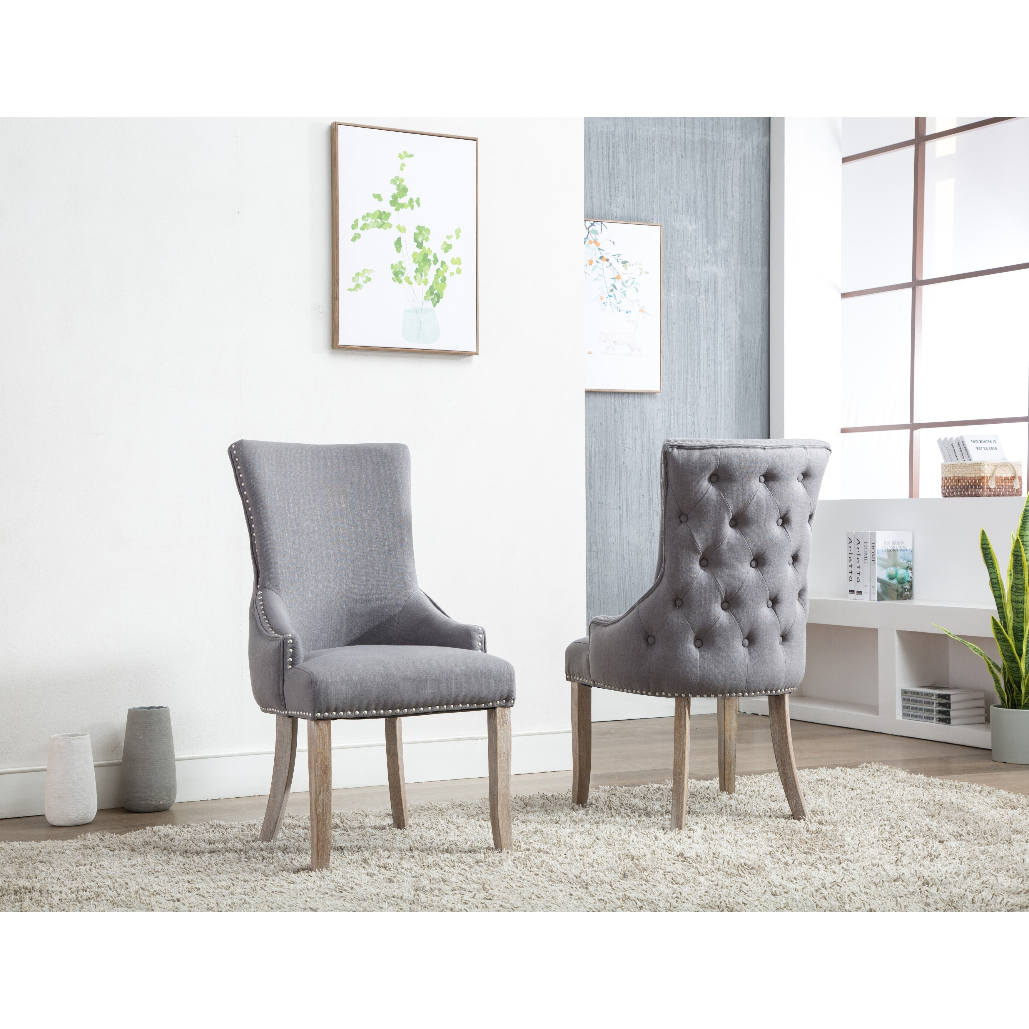 Shop Best Quality Furniture Grey Wingback Side Chair (Set of 2 ...