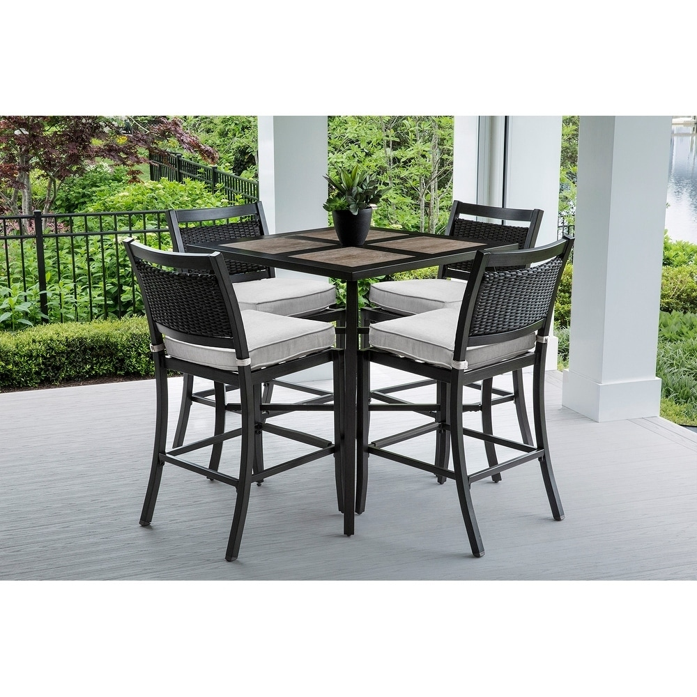 Shop Outdoor and Indoor Beige Square Bar Table Set with 4 Wicker Bar ...