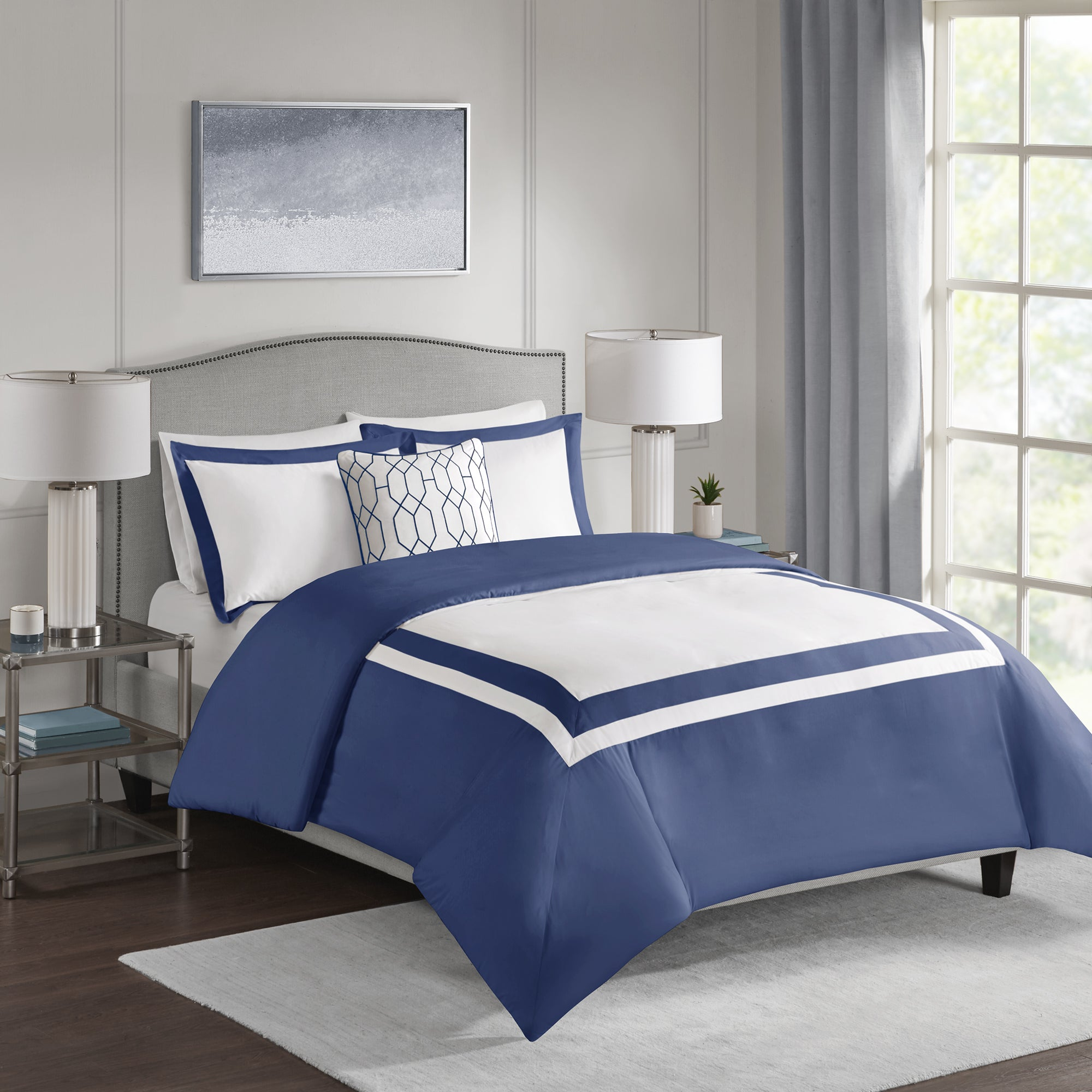 Shop 510 design hanson navy 4 piece duvet cover set free shipping today overstock com 20507516