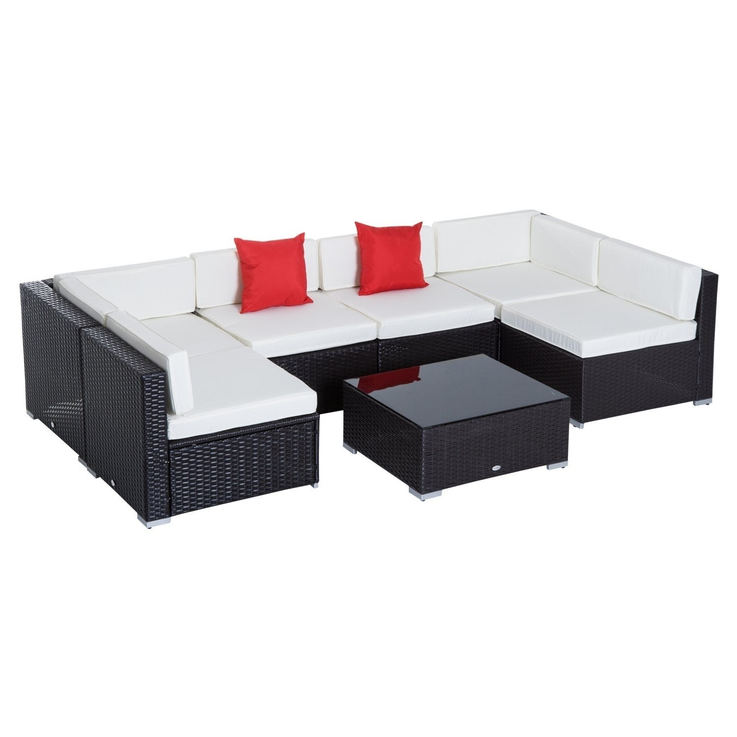 Outsunny 7 Piece Set Rattan Sofa Luxury Modular Conversation Outdoor  Furniture