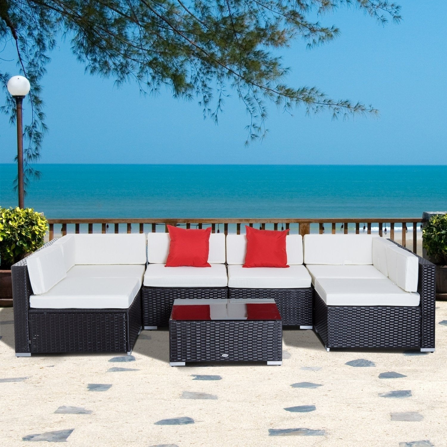 Shop Outsunny 7 Piece Wicker Sofa Sectional Rattan Conversation ...