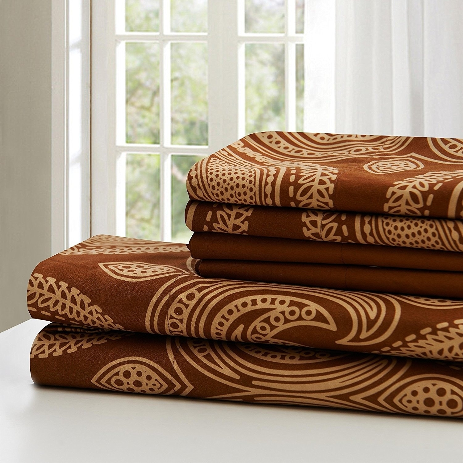 7631dda262 Shop Paisley Printed 6 Piece Deep Pocket 1800 Series Ultra Soft Bed Sheet  Set - Free Shipping On Orders Over $45 - Overstock - 20519879