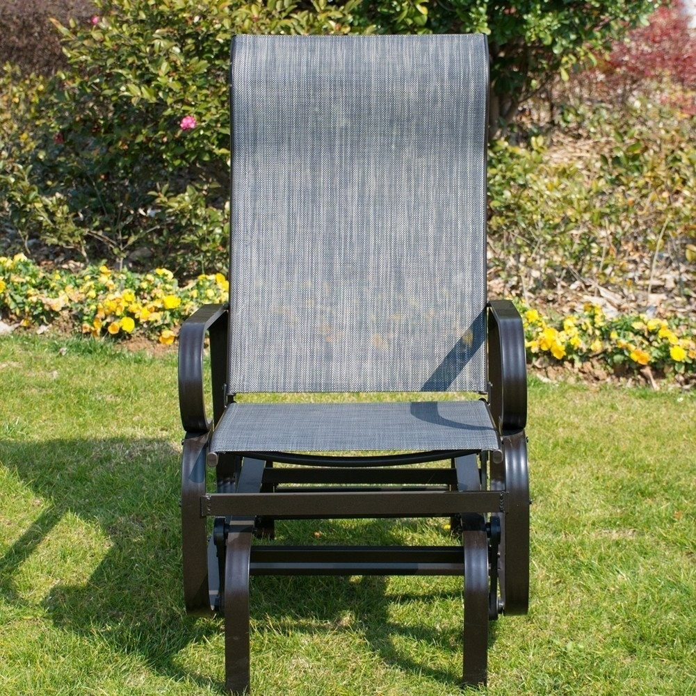 Patiopost Sling Glider Outdoor Patio Chair Textilene Mesh Fabric Black Free Shipping Today 20521083