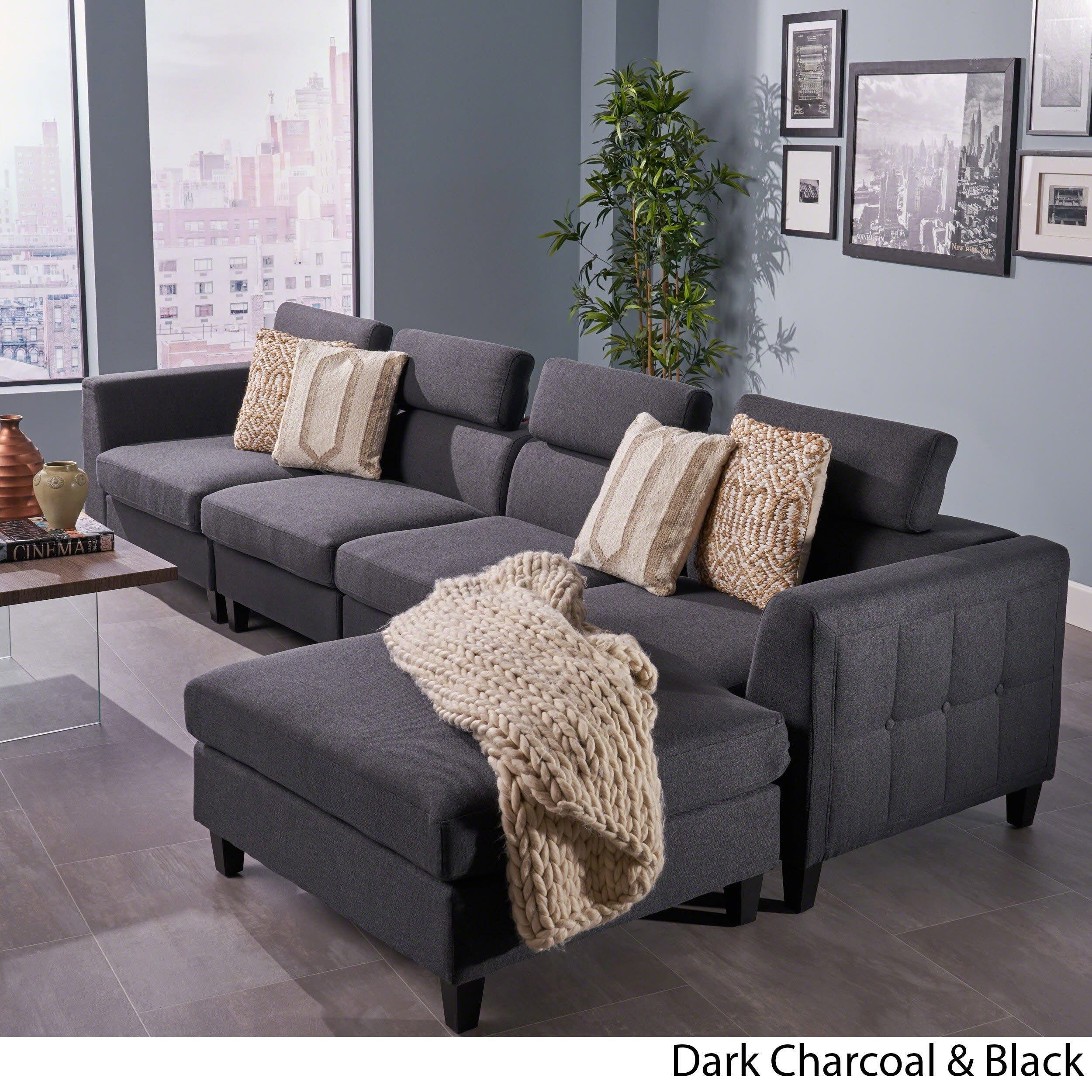 Amias modern 4 piece chaise sectional sofa set by christopher knight home