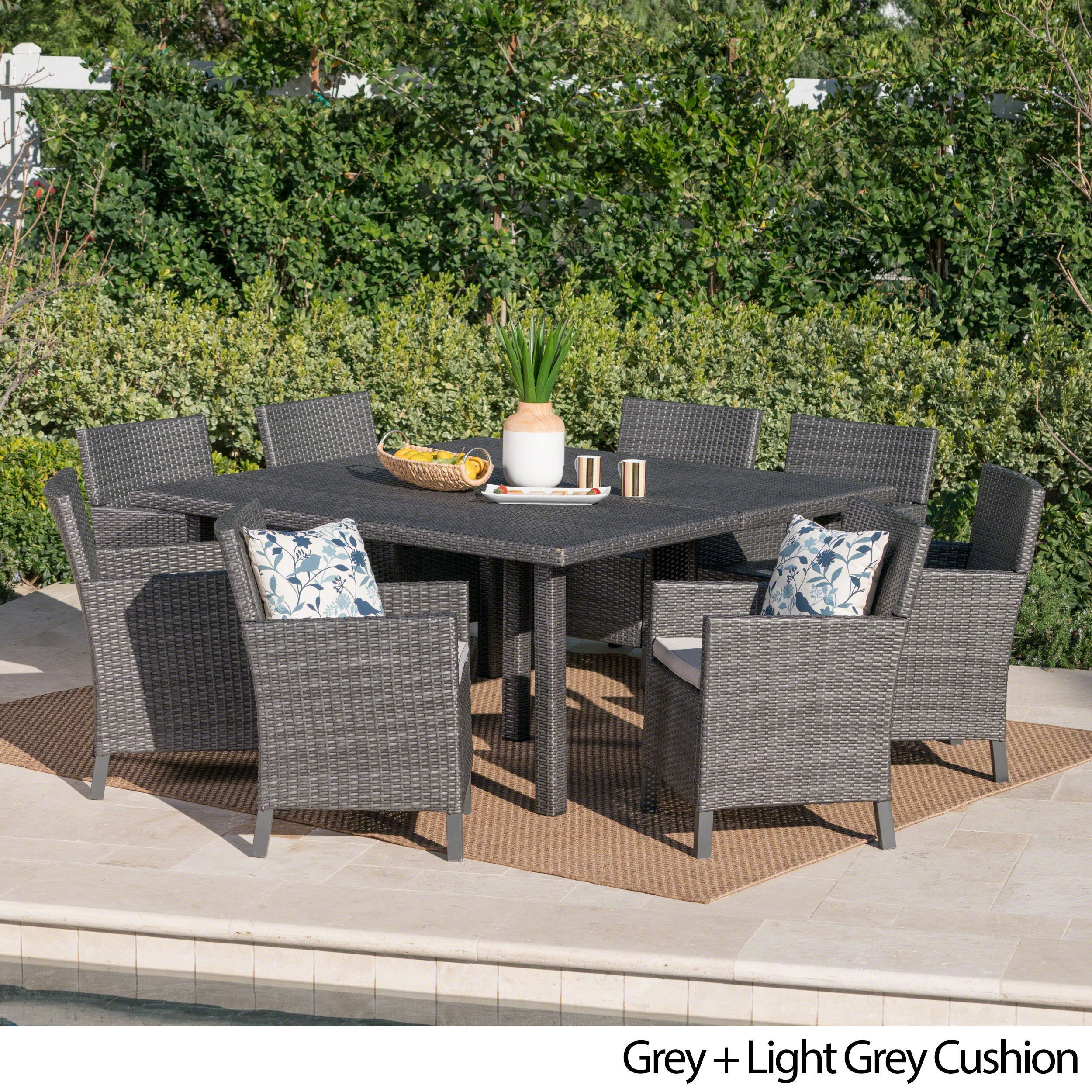 Shop Arcade Outdoor 9 Piece Square Wicker Dining Set With Cushions By  Christopher Knight Home   On Sale   Free Shipping Today   Overstock.com    20523633