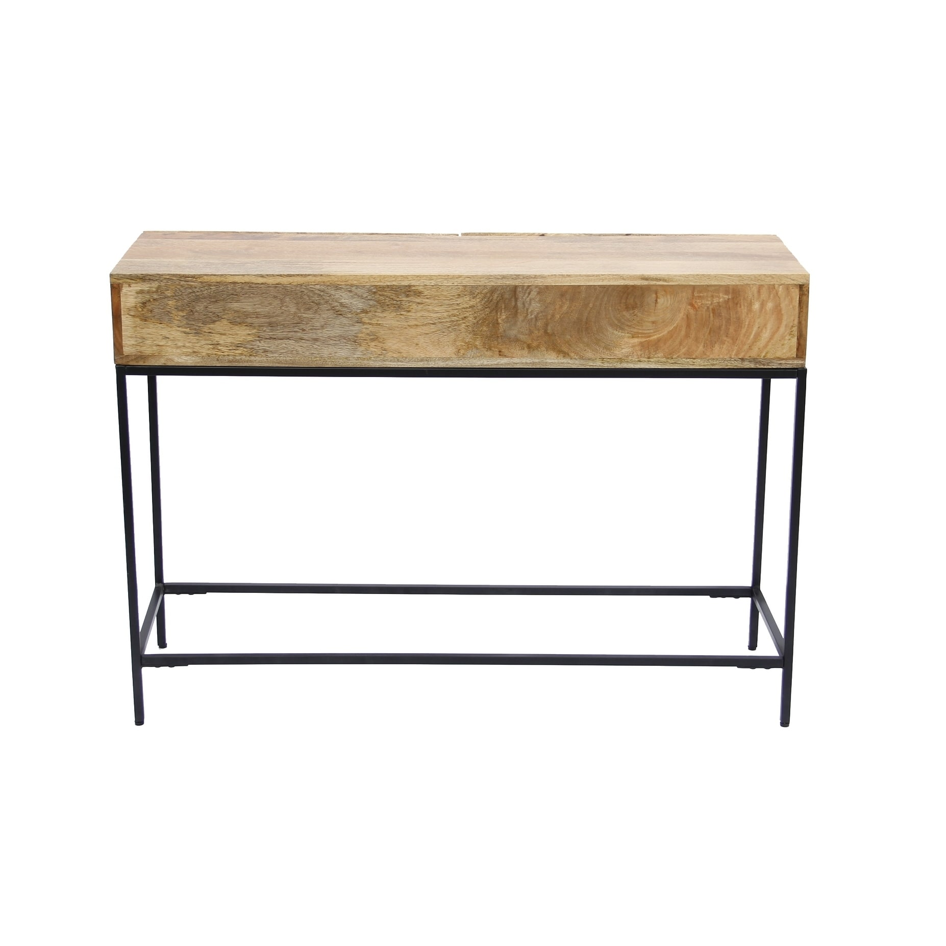 Shop Mango Wood And Metal Console Table With Two Drawers Brown