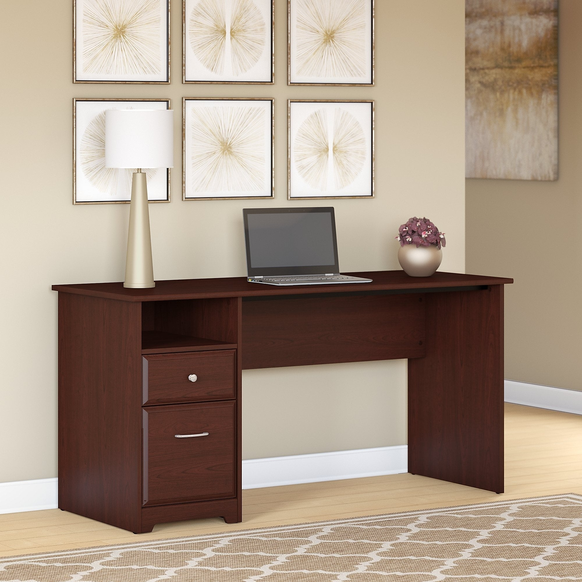Bush Furniture Cabot 60w Computer Desk With Drawers In Harvest Cherry Free Shipping Today 20525484