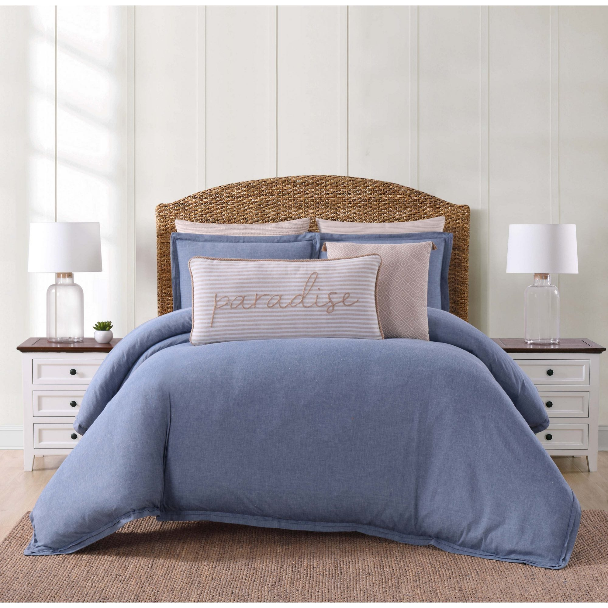 cotton chambray duvet free today product overstock cover oceanfront bedding shipping bath set coast resort piece