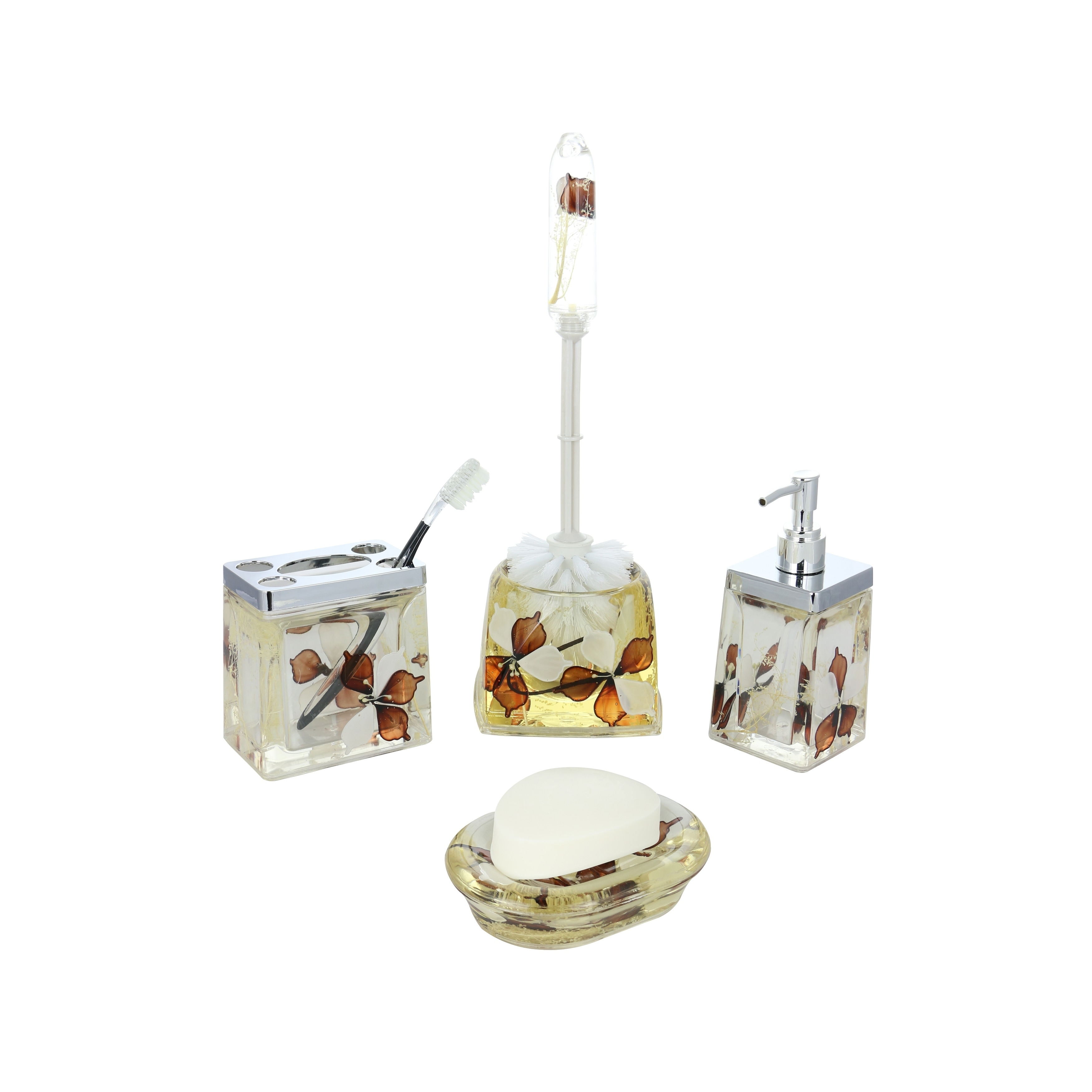 5-Piece Bathroom Set, Brown & White Flowers, Includes Toothbrush ...