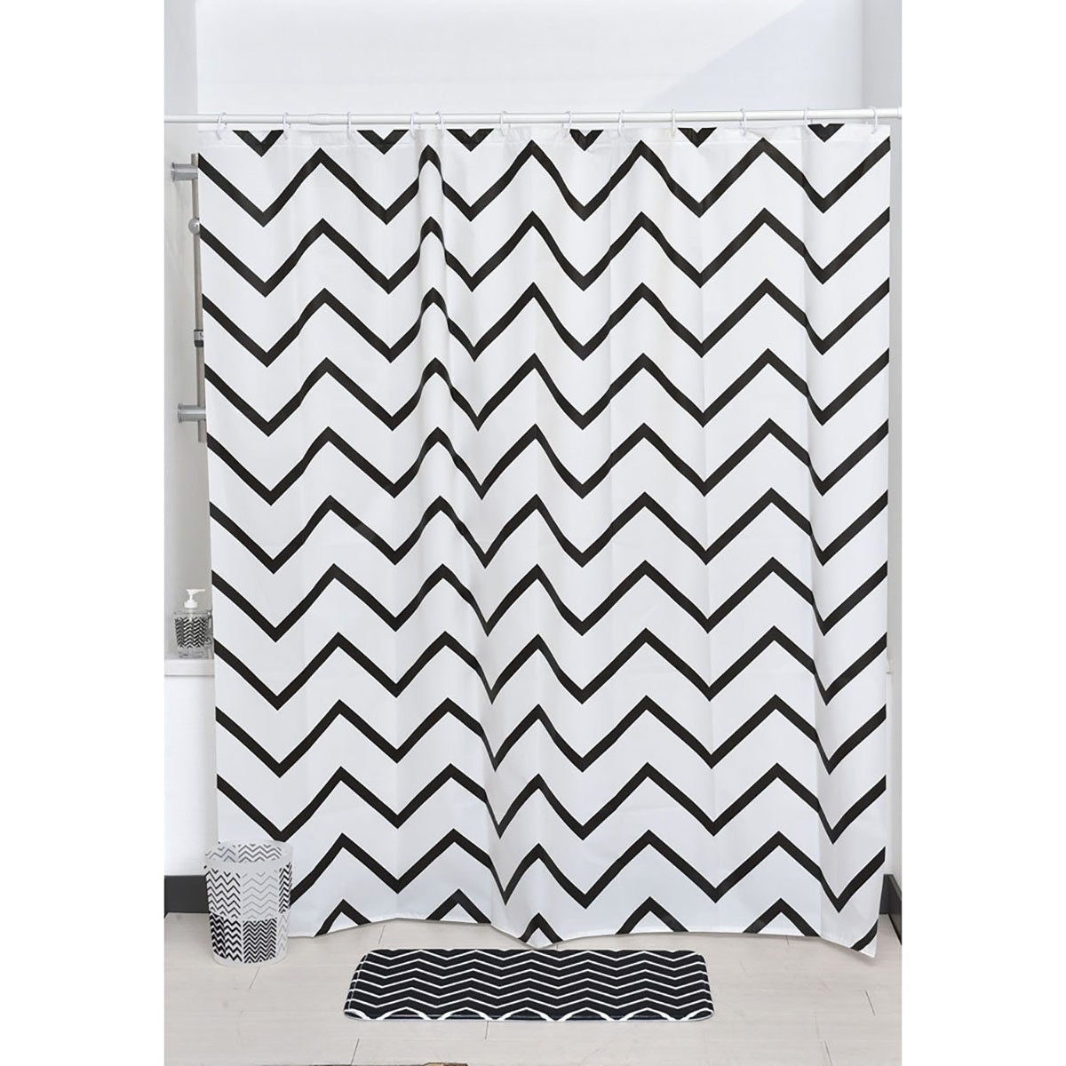Shop Evideco Zigzag Collection Printed Peva Liner Shower Curtain