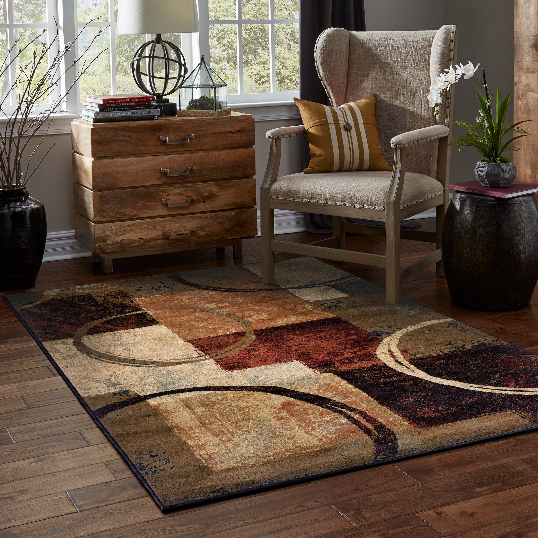 Shop Copper Grove Wakaw Blocks And Rings Brown Black Area Rug On