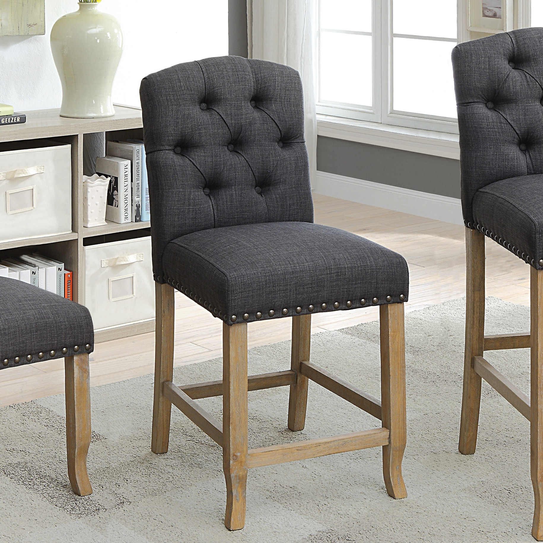 Furniture Of America Matheson Rustic Tufted Counter Height Chairs (Set Of  2)   Free Shipping Today   Overstock   26380044