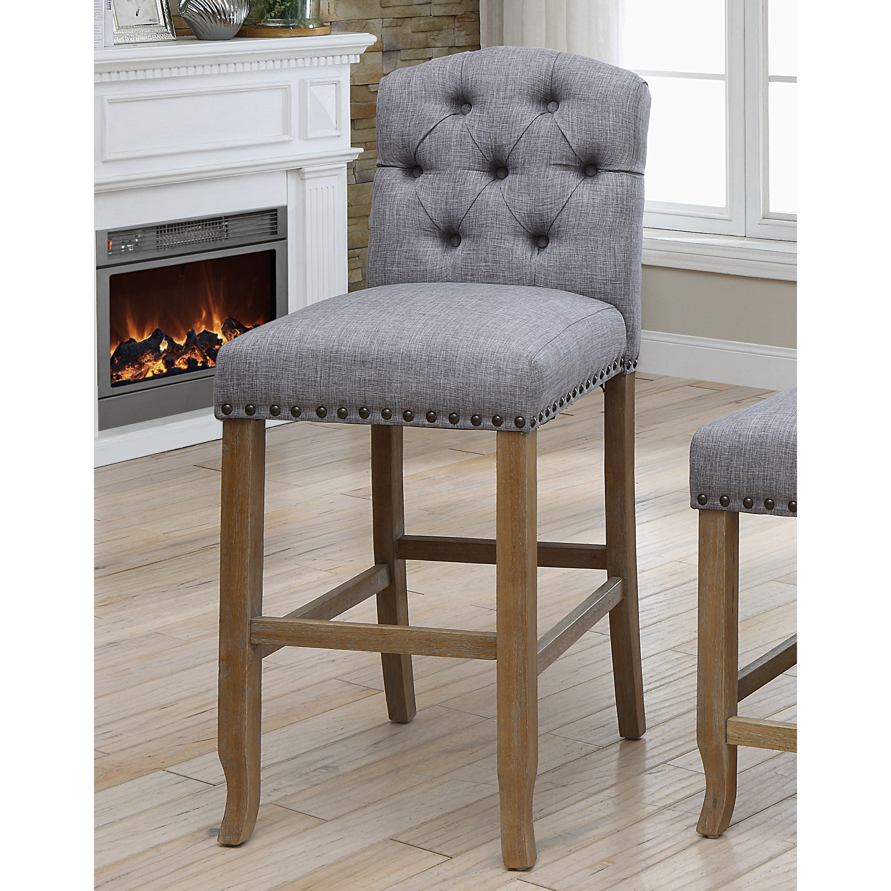 Lovely Furniture Of America Matheson Rustic Tufted Bar Chairs (Set Of 2)   Free  Shipping Today   Overstock   26380090