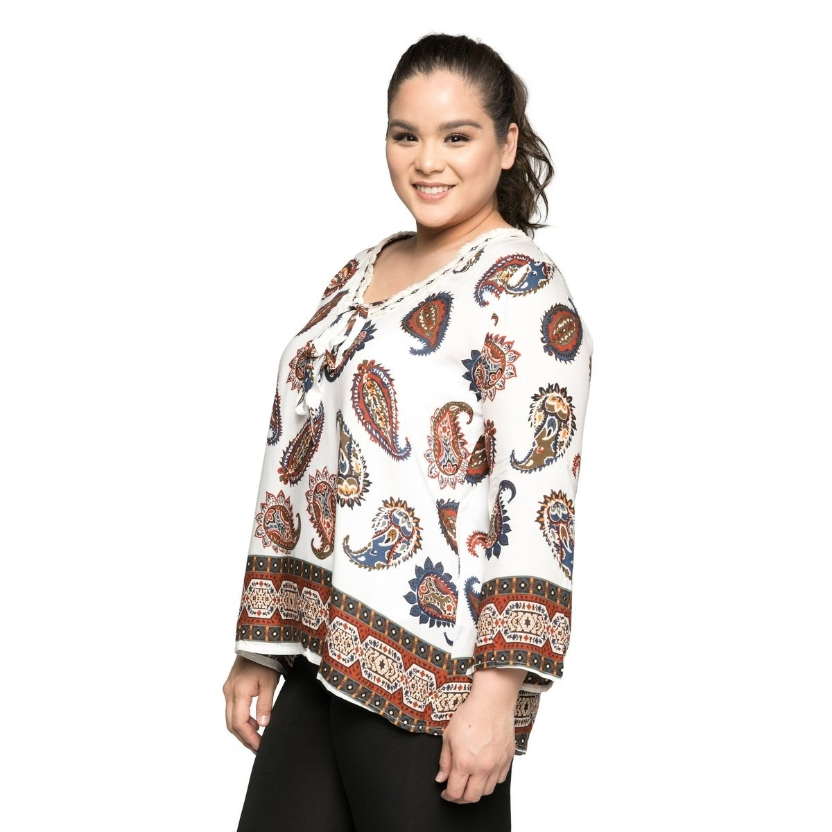 8235df097ee Shop Xehar Women's Plus Size Casual V-Neck Paisley Printed Boho Blouse Top  - Free Shipping On Orders Over $45 - Overstock - 20529681