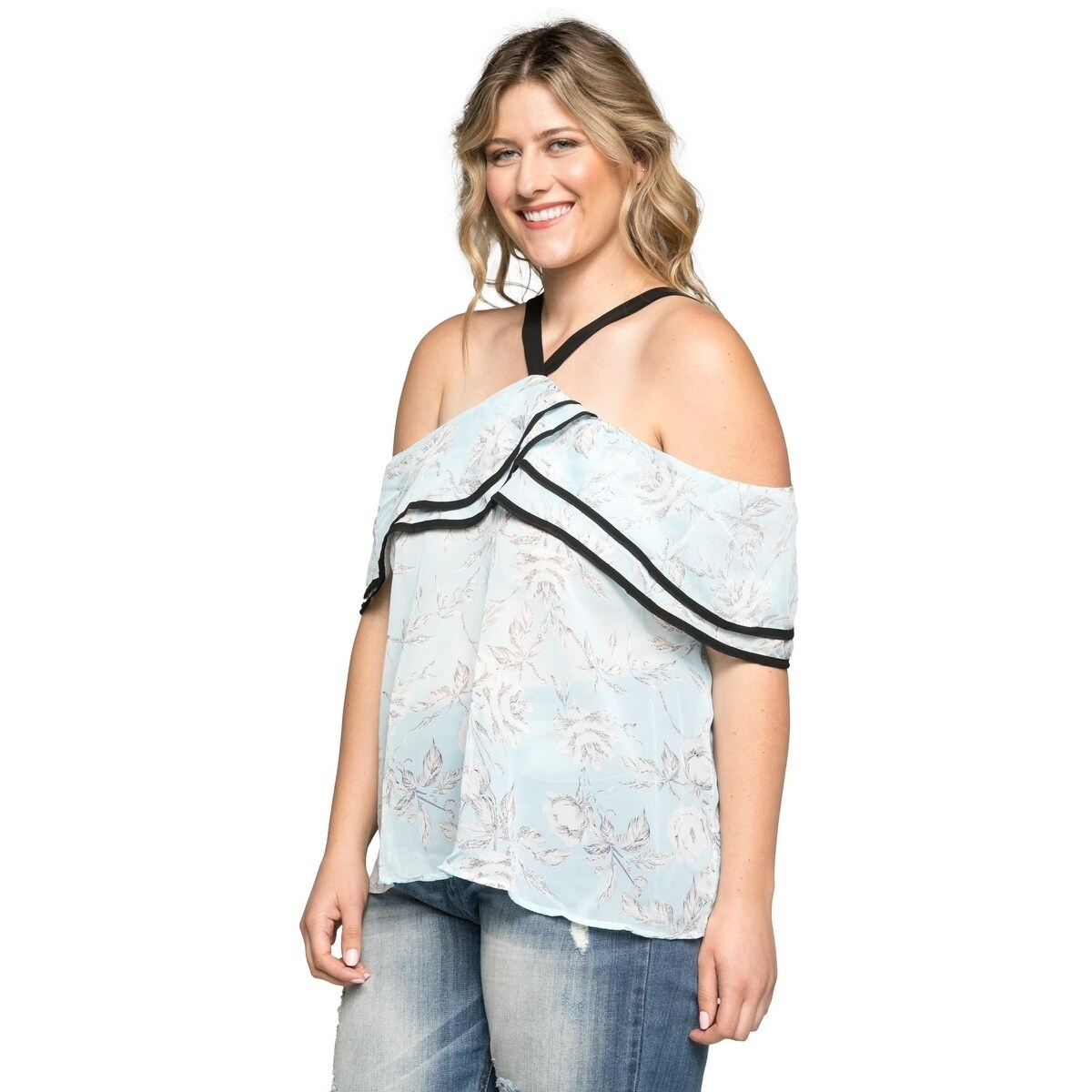 d6238b3522f Shop Xehar Women s Plus Size Sexy Floral Halter Ruffle Blouse Top - Free  Shipping On Orders Over  45 - Overstock - 20529682
