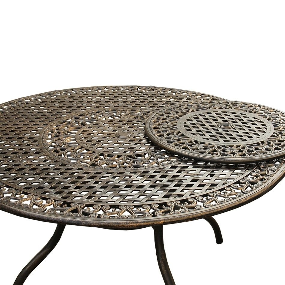 Outdoor Mesh Lattice 59 Inch Bronze Round Dining Table With Lazy Susan Free Shipping Today 20534597