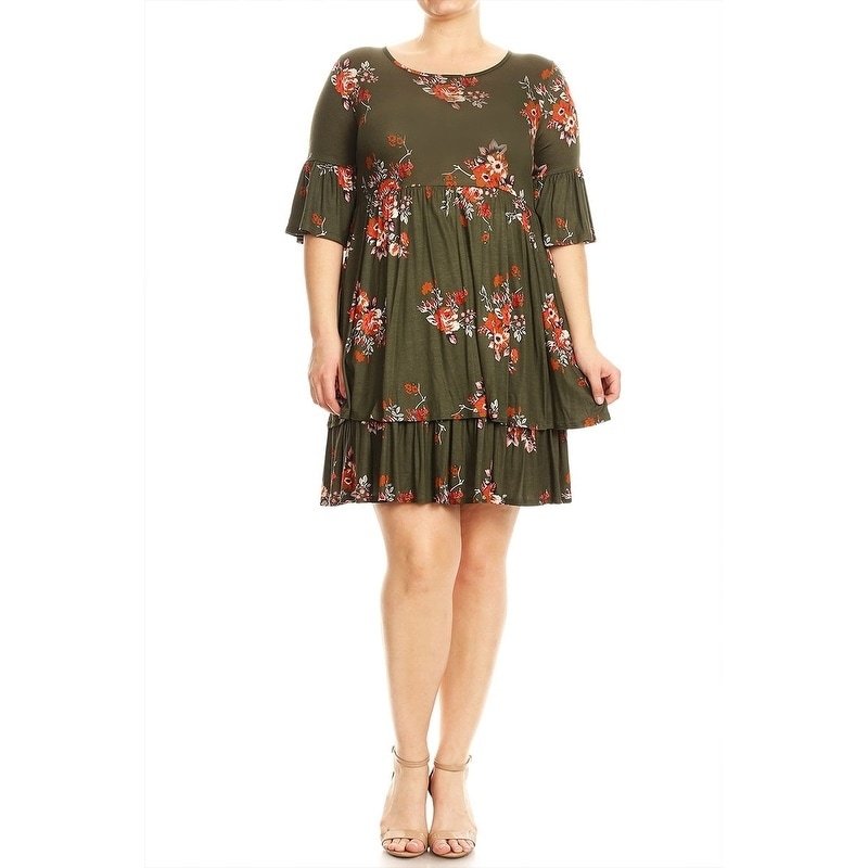 Shop Women\'s Plus Size Floral Pattern Babydoll Dress - On Sale ...