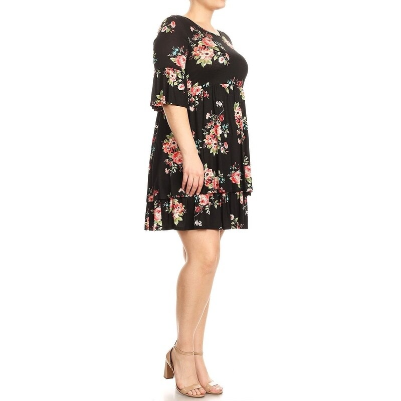 Shop Womens Plus Size Floral Pattern Babydoll Dress On Sale