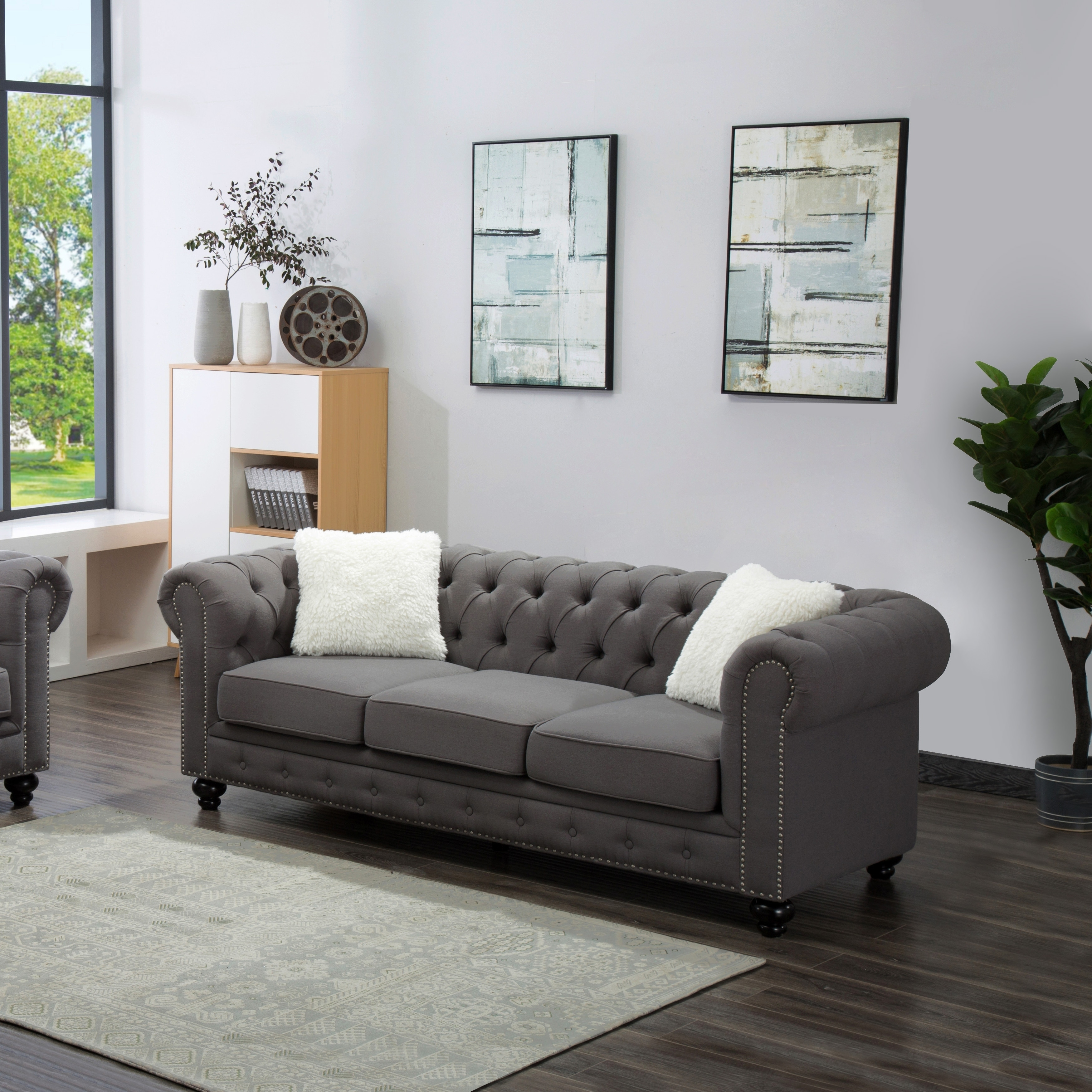 Best Quality Furniture Grey Chesterfield Sofa With Accent Pillows ...