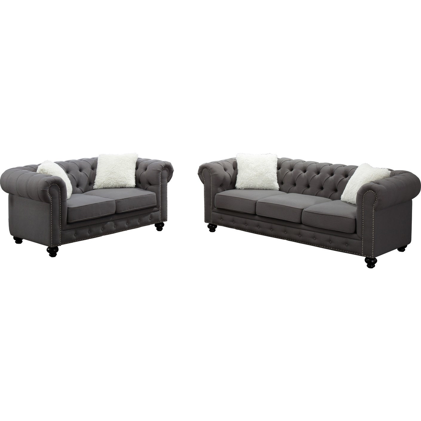 Shop best quality furniture grey chesterfield sofa and loveseat set with accent pillows free shipping today overstock com 20538624