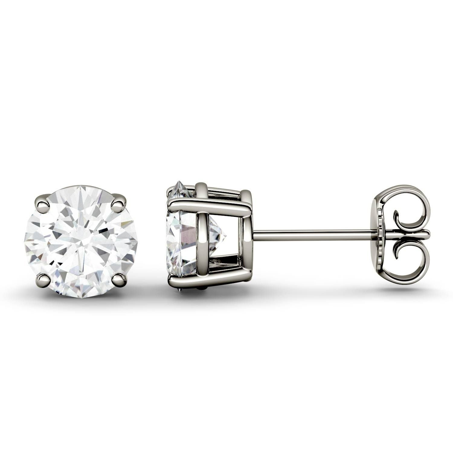ebay brilliant charles by colvard stud details cut itm moissanite round earrings product