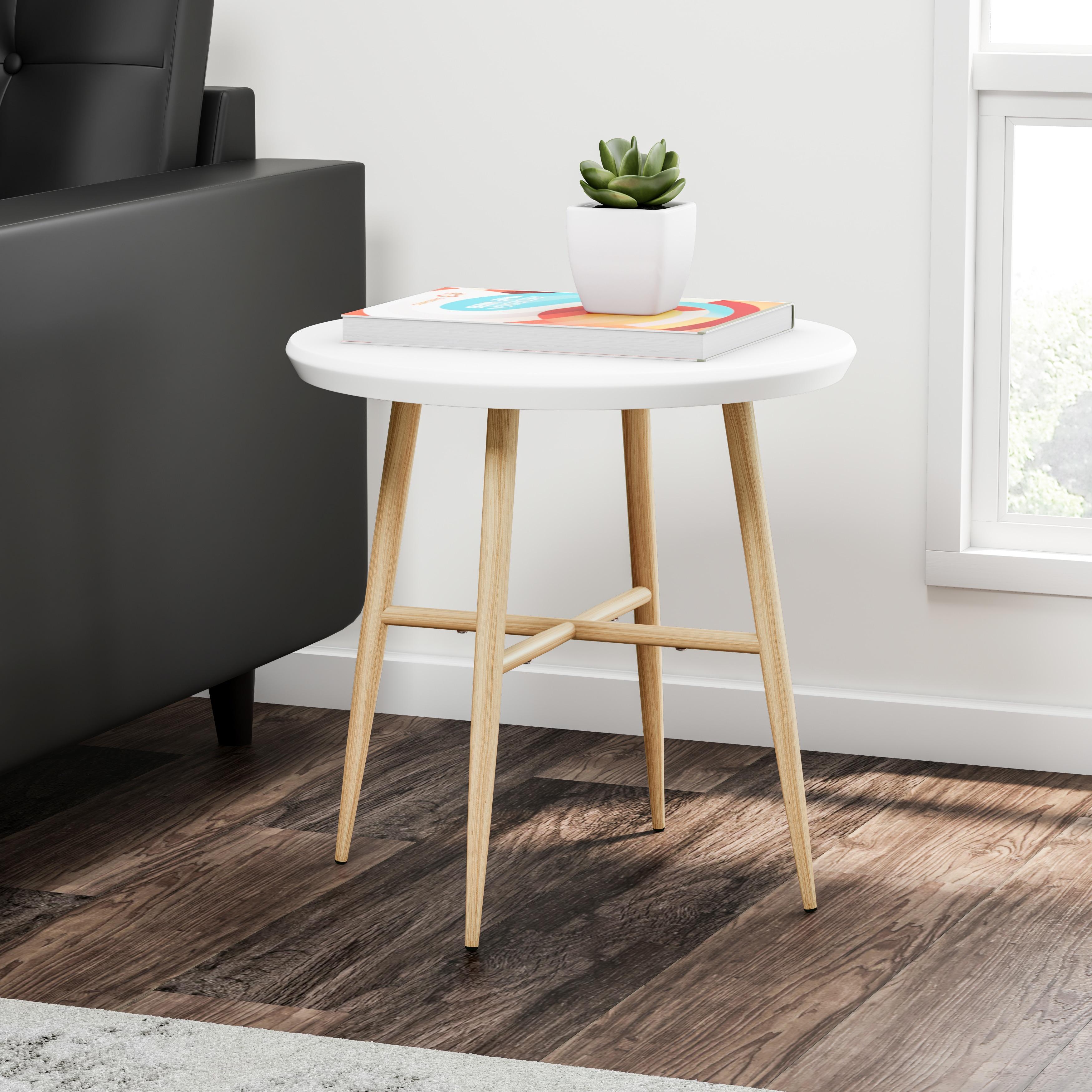 Carson Carrington Garoabaer White Round End Table With Light Oak Metal Legs On Free Shipping Today 20543319