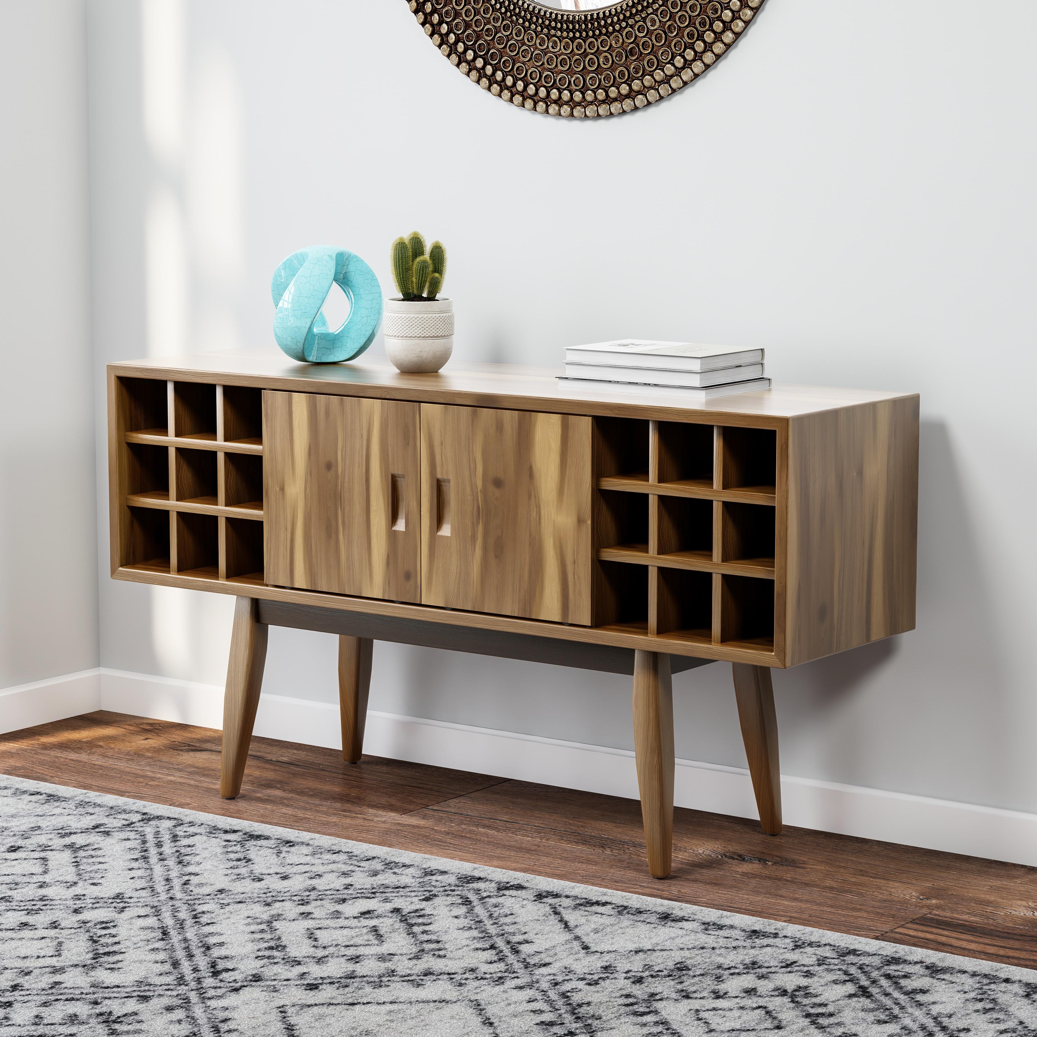 Carson carrington lund acacia wood mid century bar cabinet