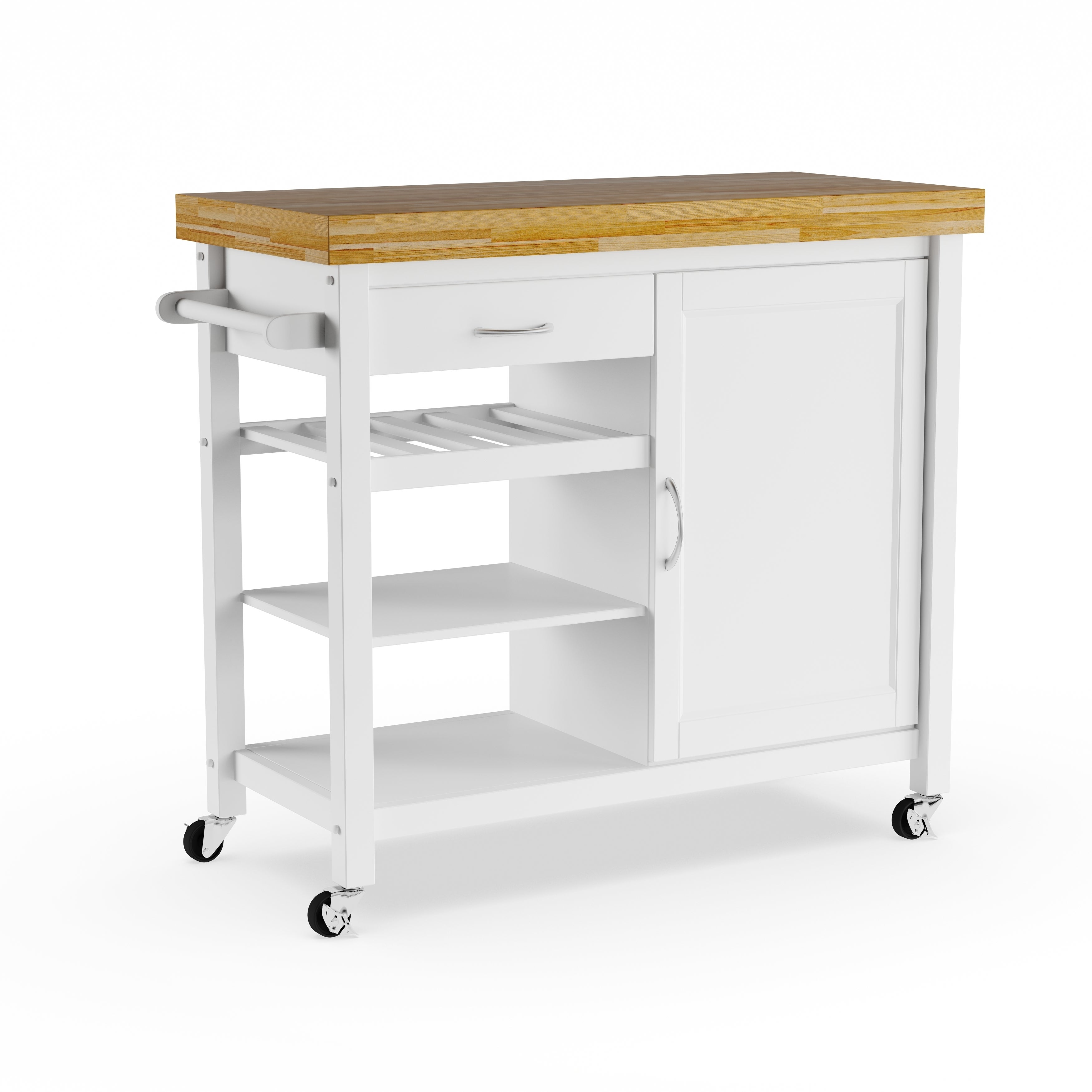 Shop Denver White Modern Kitchen Cart - Free Shipping Today - Overstock - 20543359  sc 1 st  Overstock.com & Shop Denver White Modern Kitchen Cart - Free Shipping Today ...
