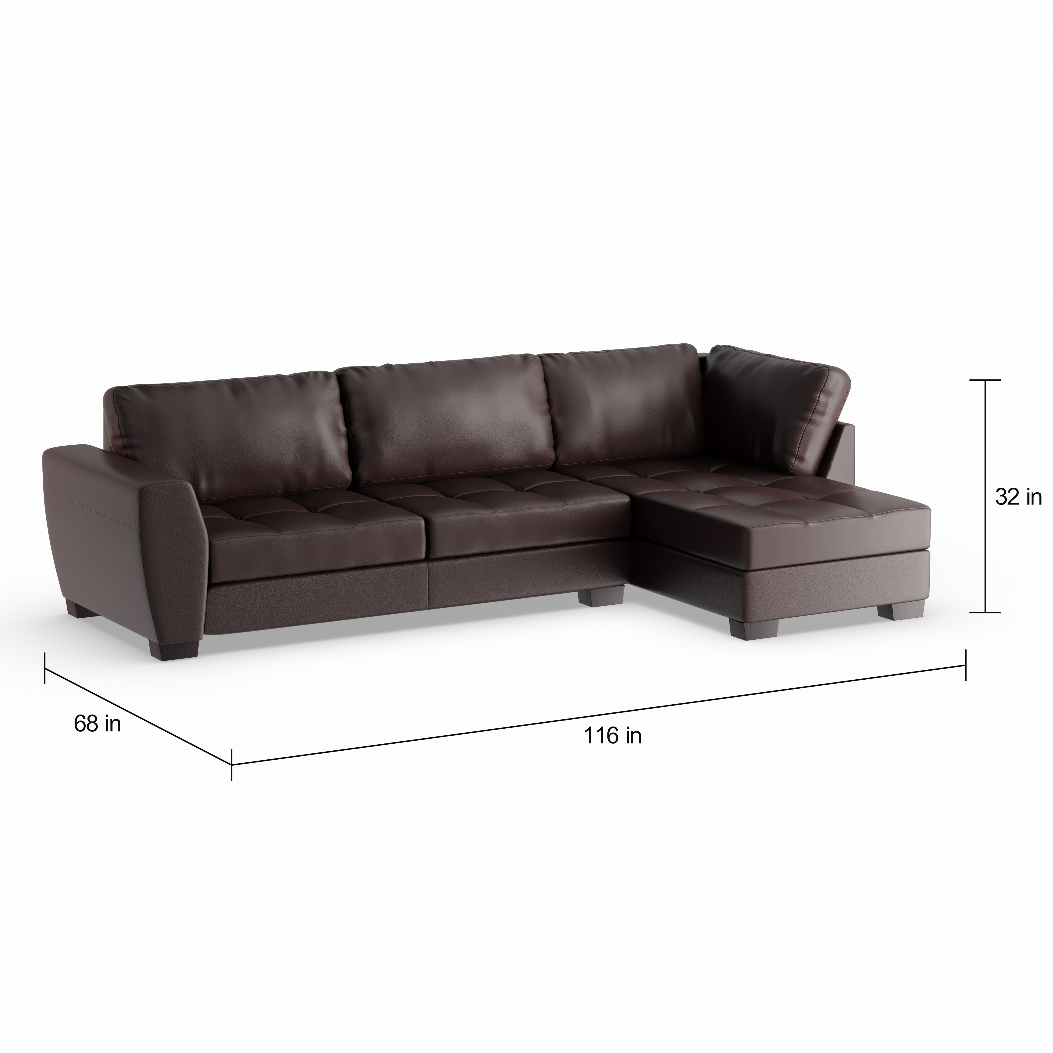 Maison Rouge Aled Brown Bonded Leather Modern Sectional Sofa Set With Right Facing Chaise Free Shipping Today 20543374