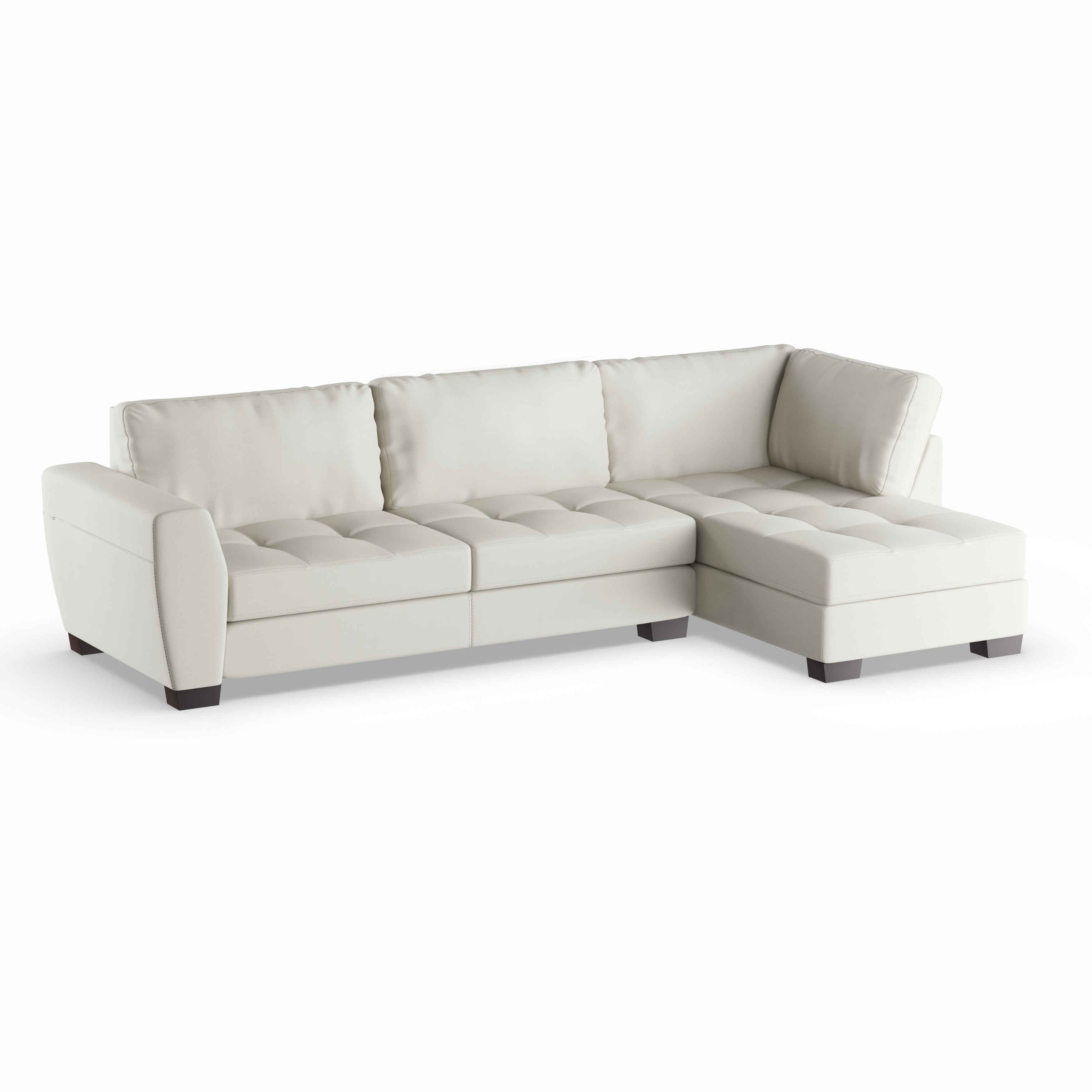 Maison Rouge Lee White Leather Modern Sectional Sofa Set With Right Facing Chaise Free Shipping Today 20543376