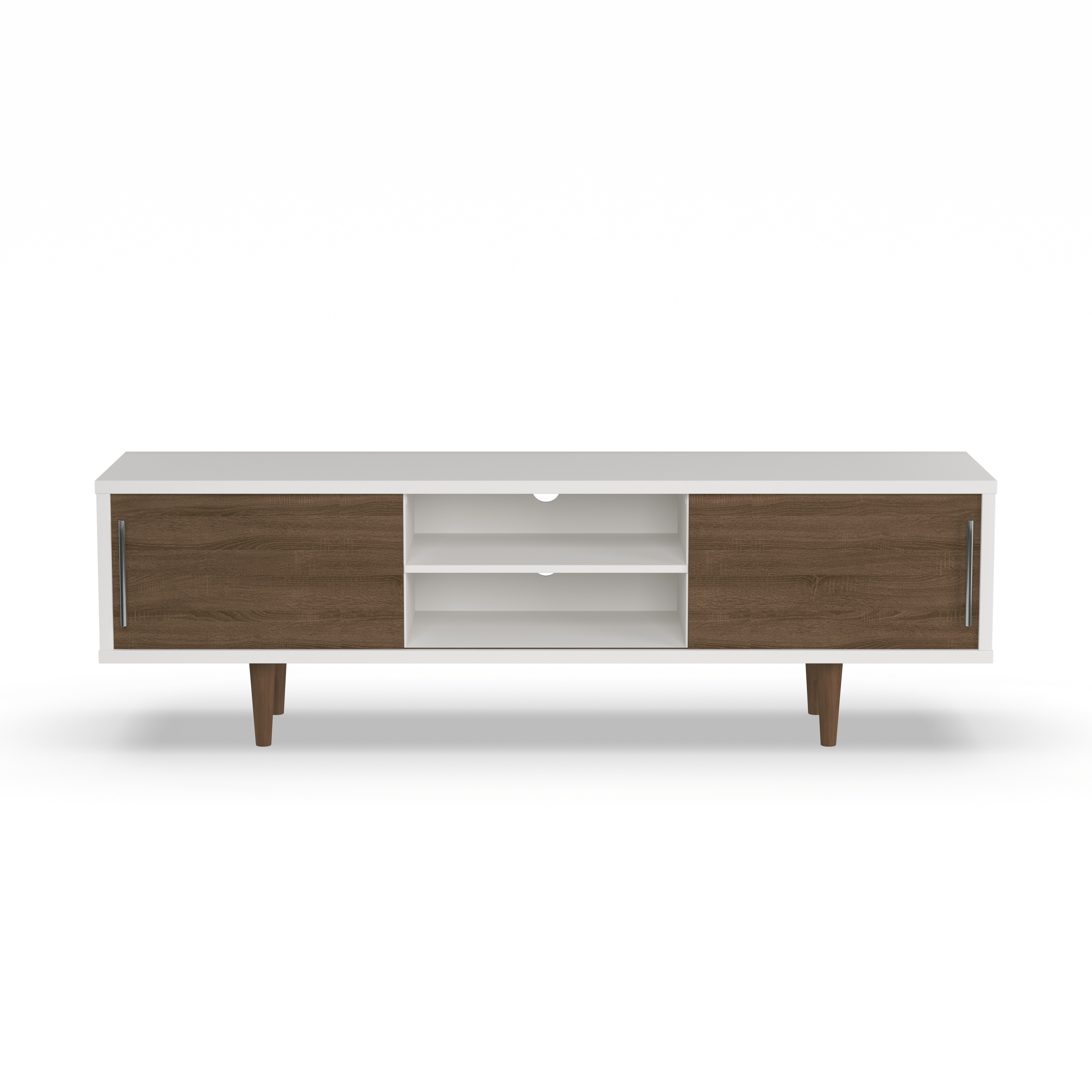 Shop Carson Carrington Sater Mid Century White And Brown Tv Stand