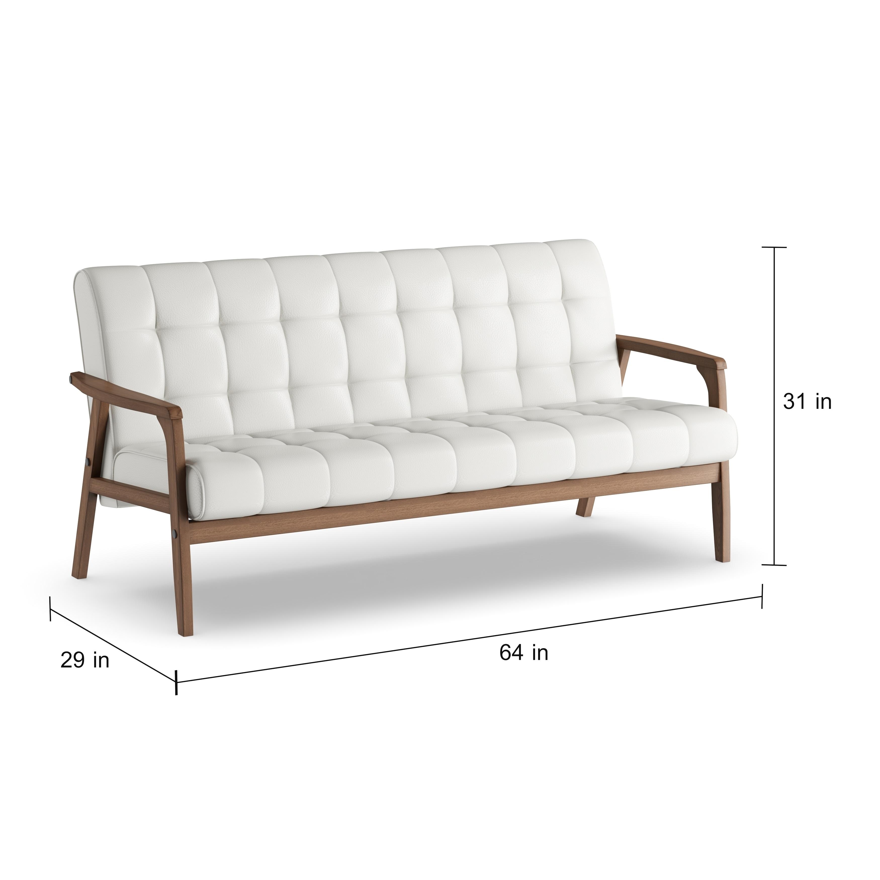Carson Carrington Karkkila White Faux Leather Sofa Free Shipping Today 20543556