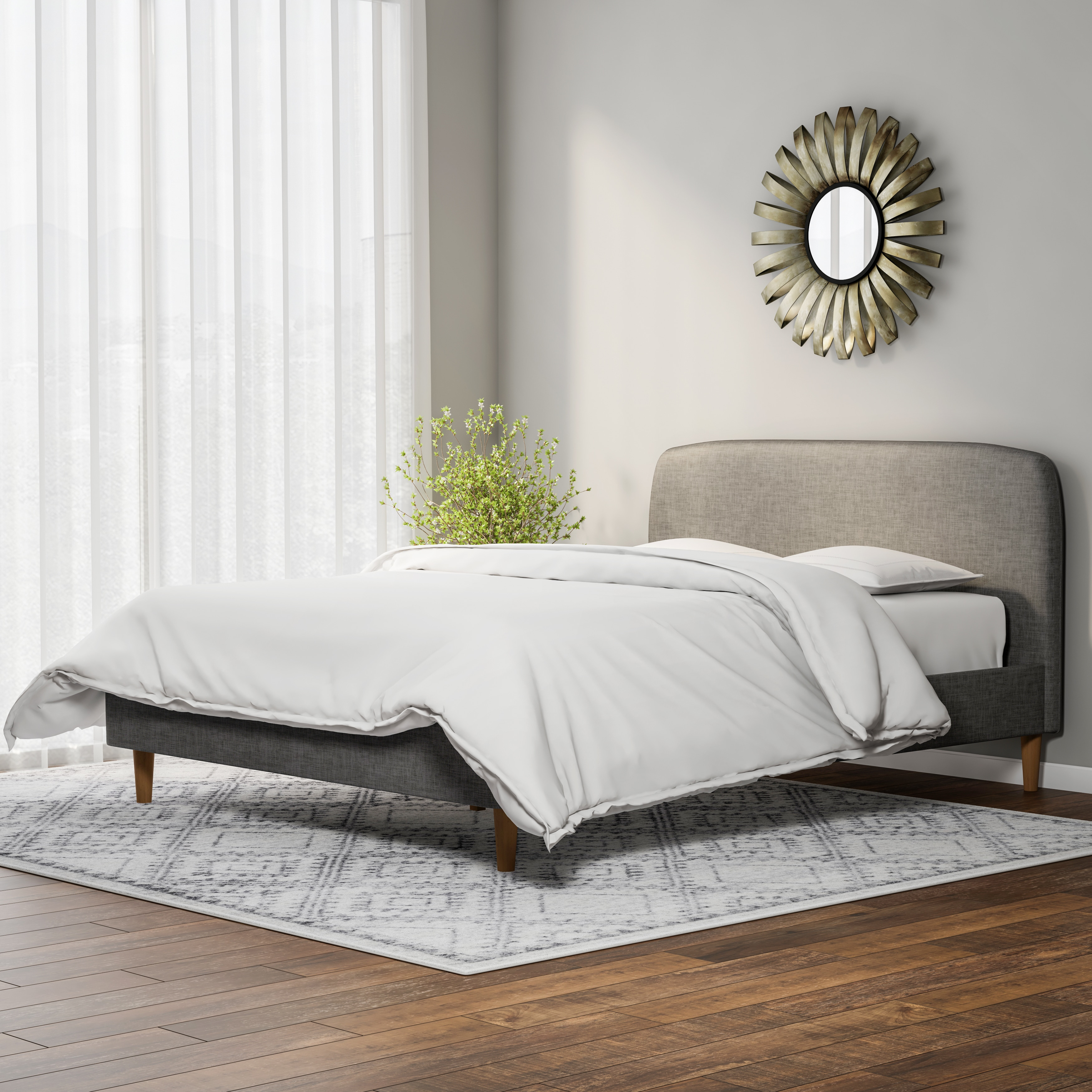 Carson Carrington Karlstad Mid Century Fabric Upholstered Platform Bed  Free