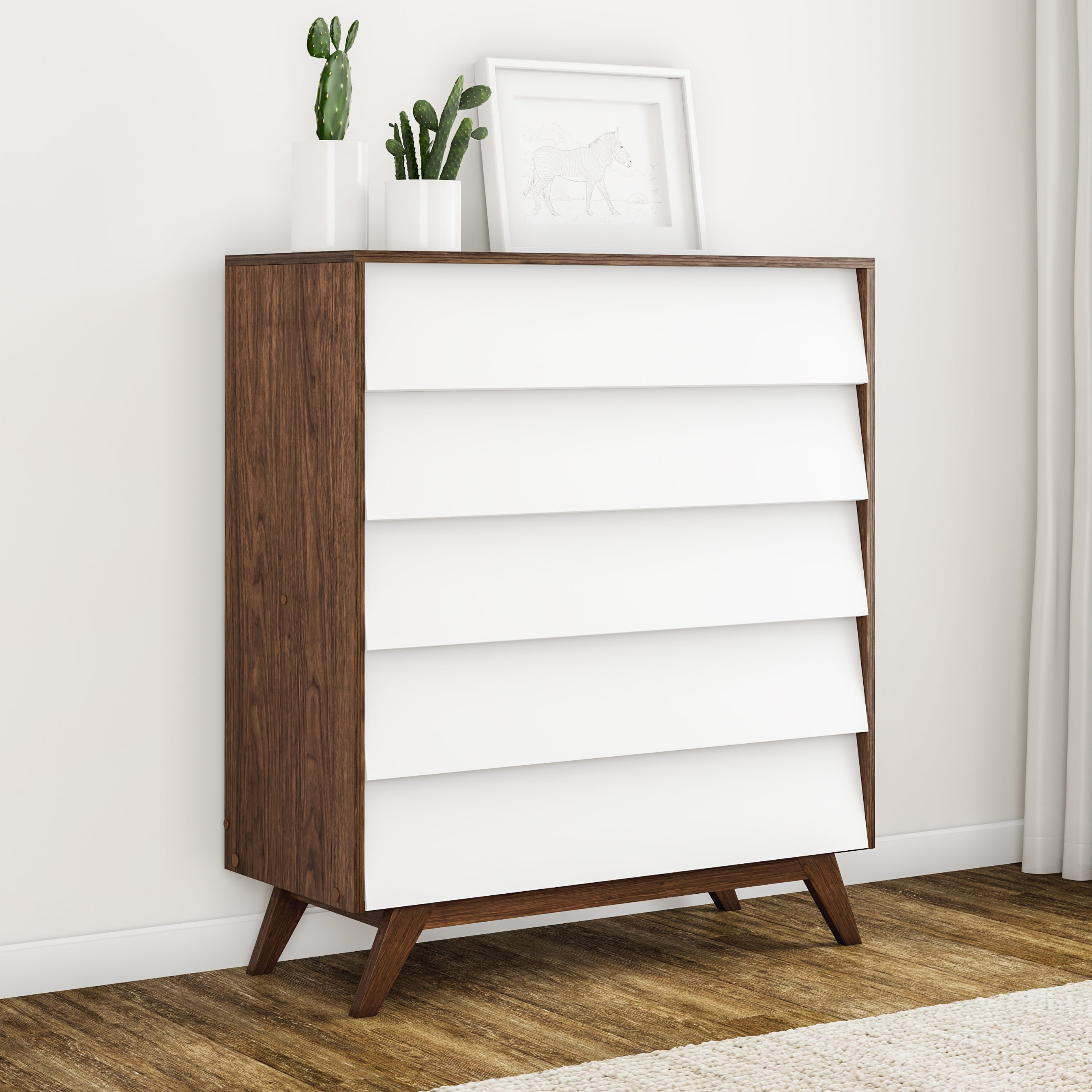 Shop Carson Carrington Halmstad Mid Century White And Brown 5 Drawer