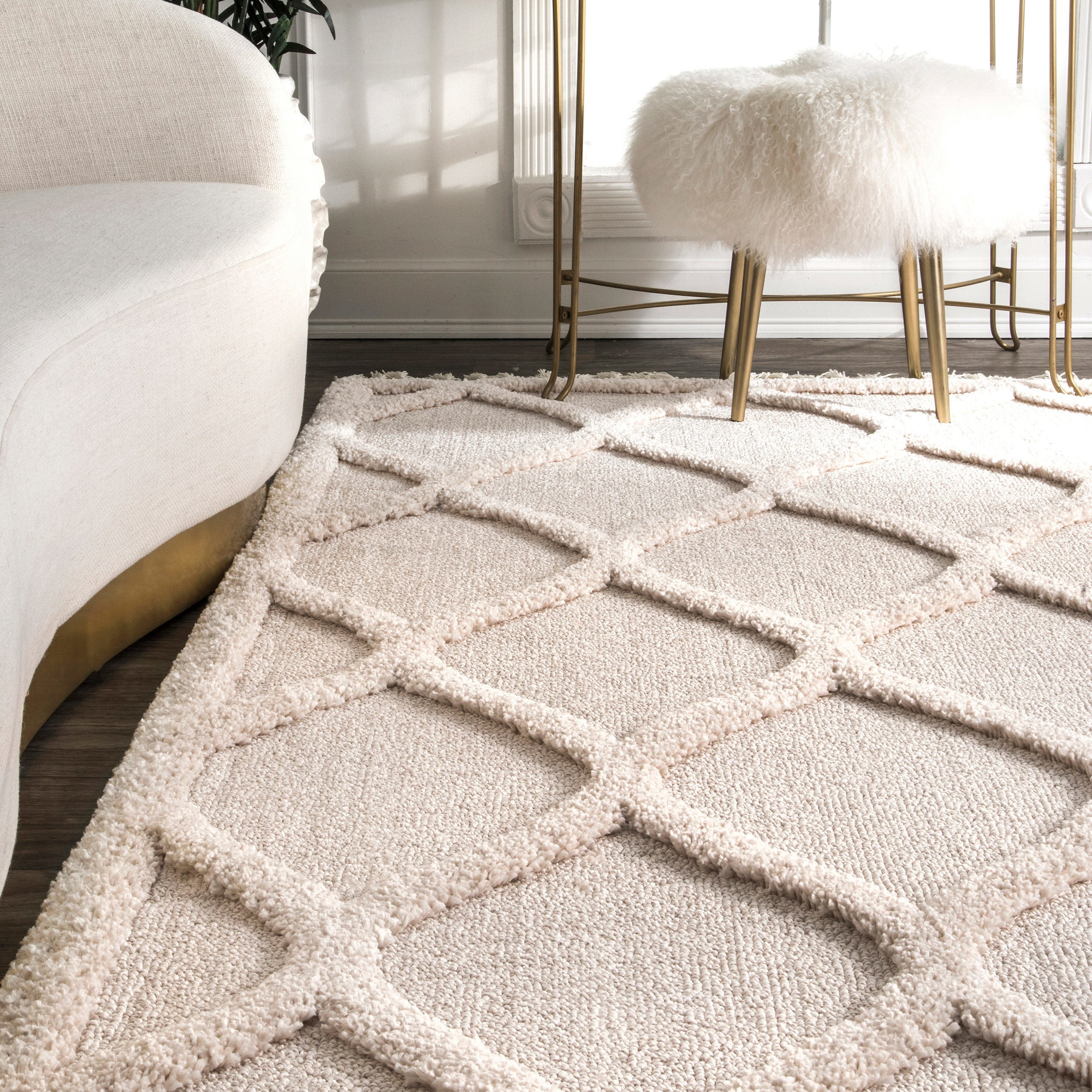 Nuloom Plush High Low Trellis Kids Tel Gy Ivory Area Rug 7 10 X On Free Shipping Today 20551583