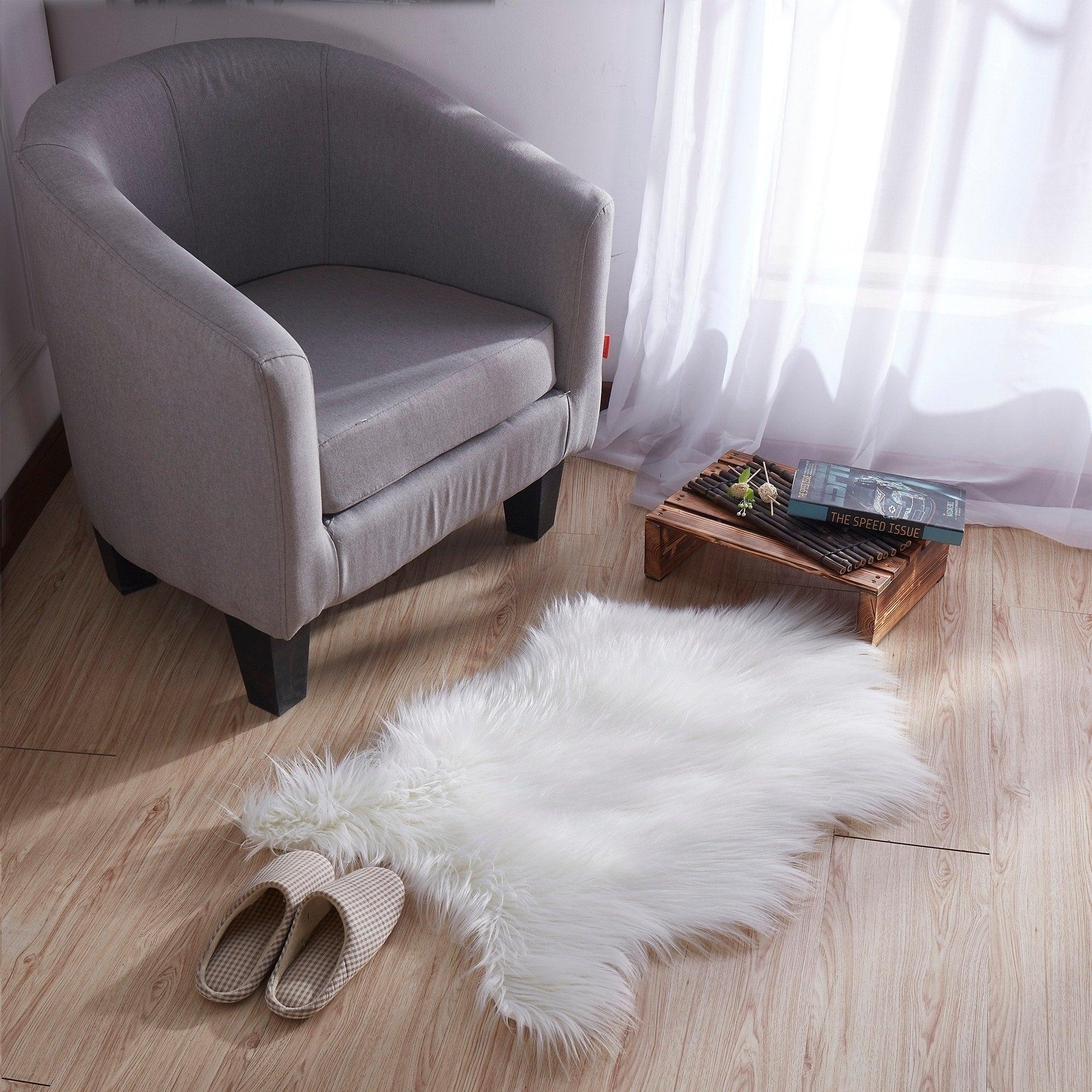 Shop Ottomanson Soft High Pile Faux Sheepskin Chair Cover Seat Pad