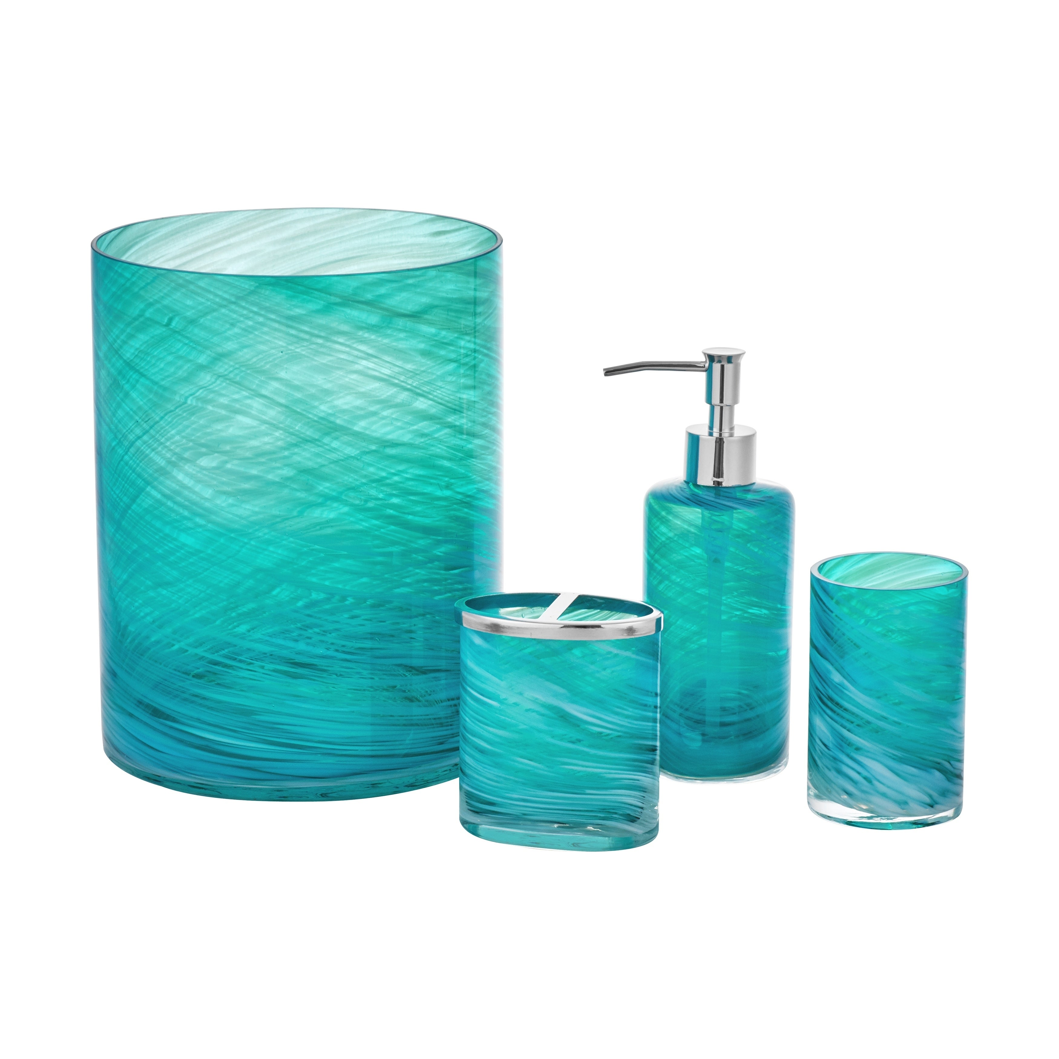 Shop Five Queens Court Caribbean Reef Handmade Glass Bathroom Accessories    Free Shipping On Orders Over $45   Overstock.com   20555029