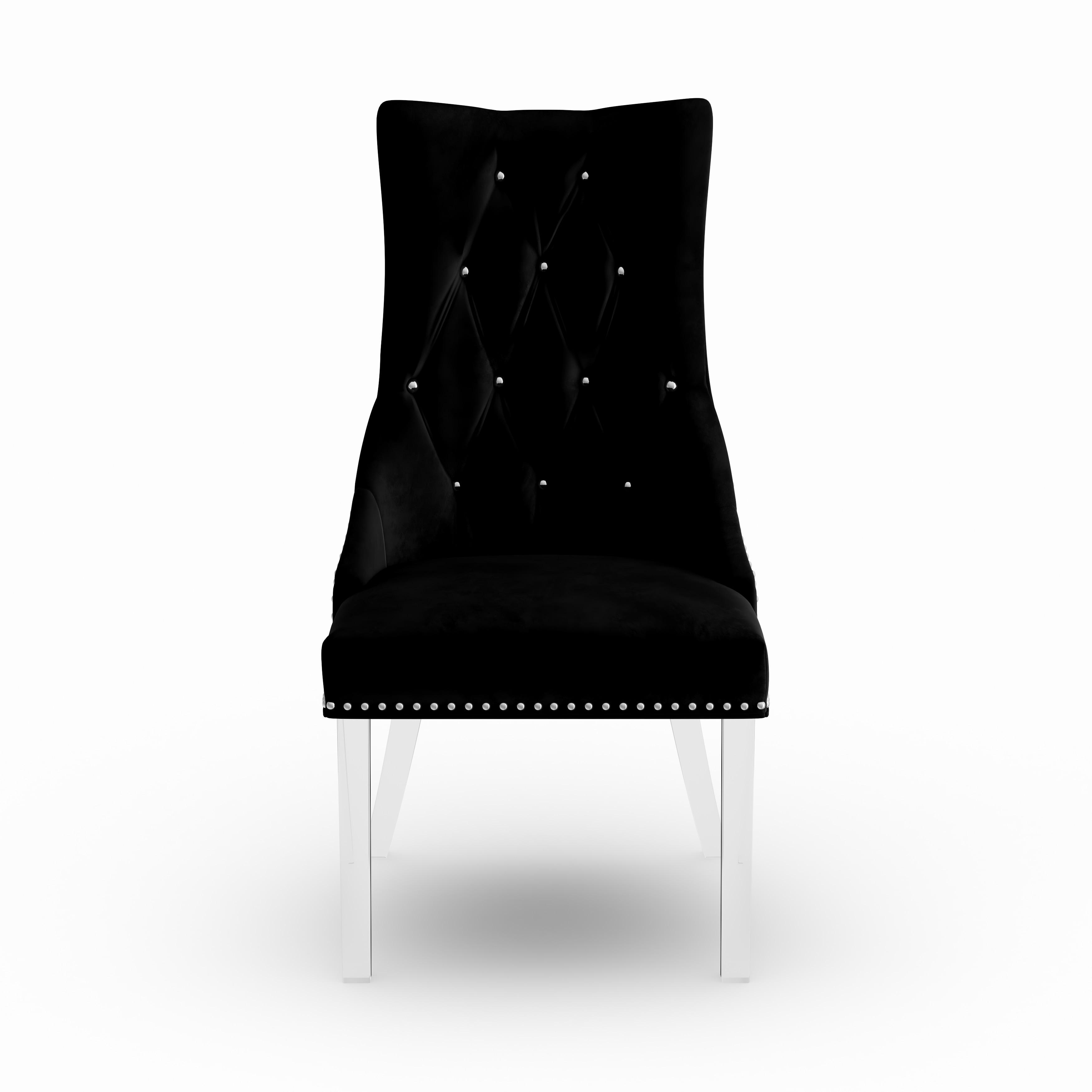 Shop Armen Living Gobi Tufted Dining Chair In Velvet With Acrylic