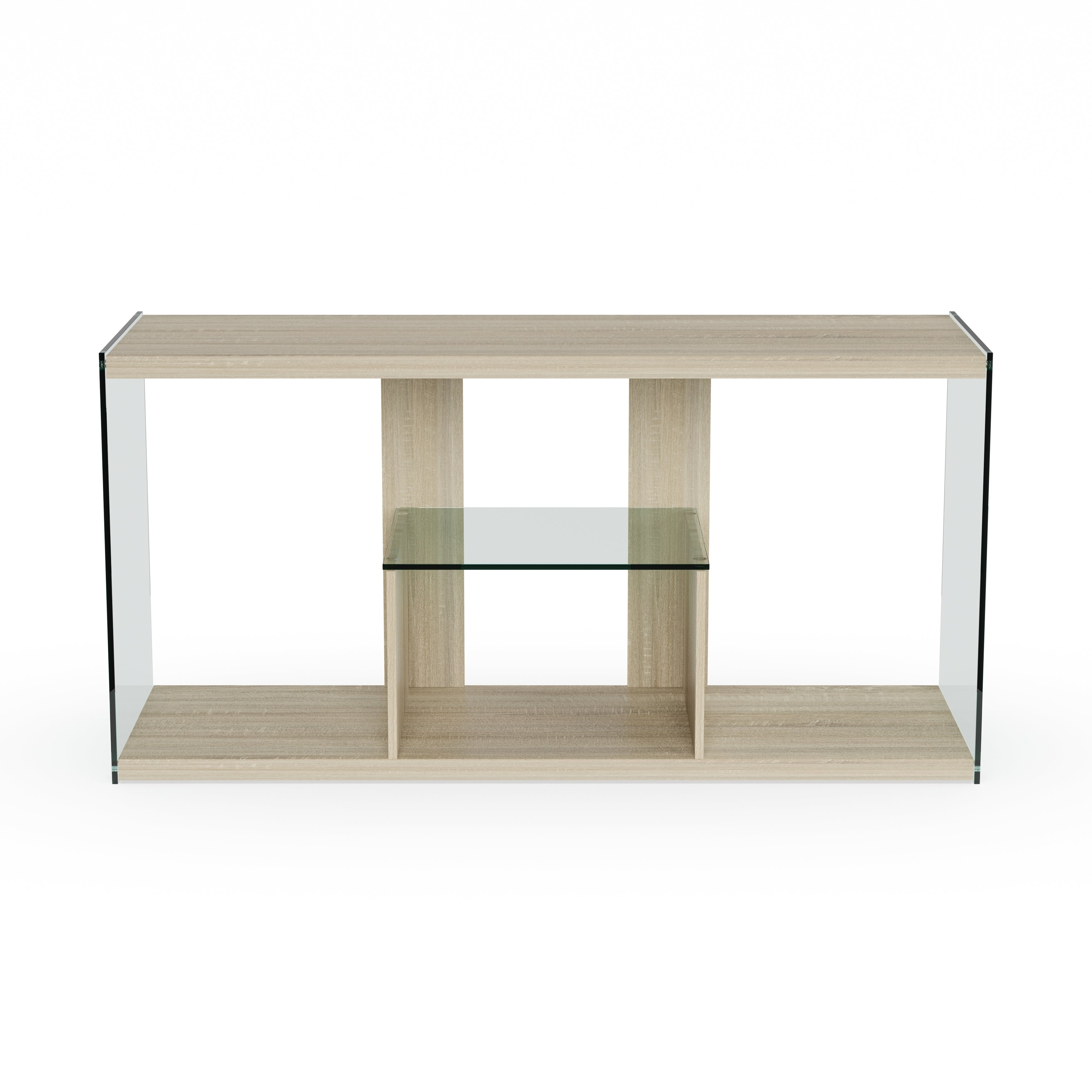Shop Porch Den Urqhuart Wood Glass Tv Stand Free Shipping Today