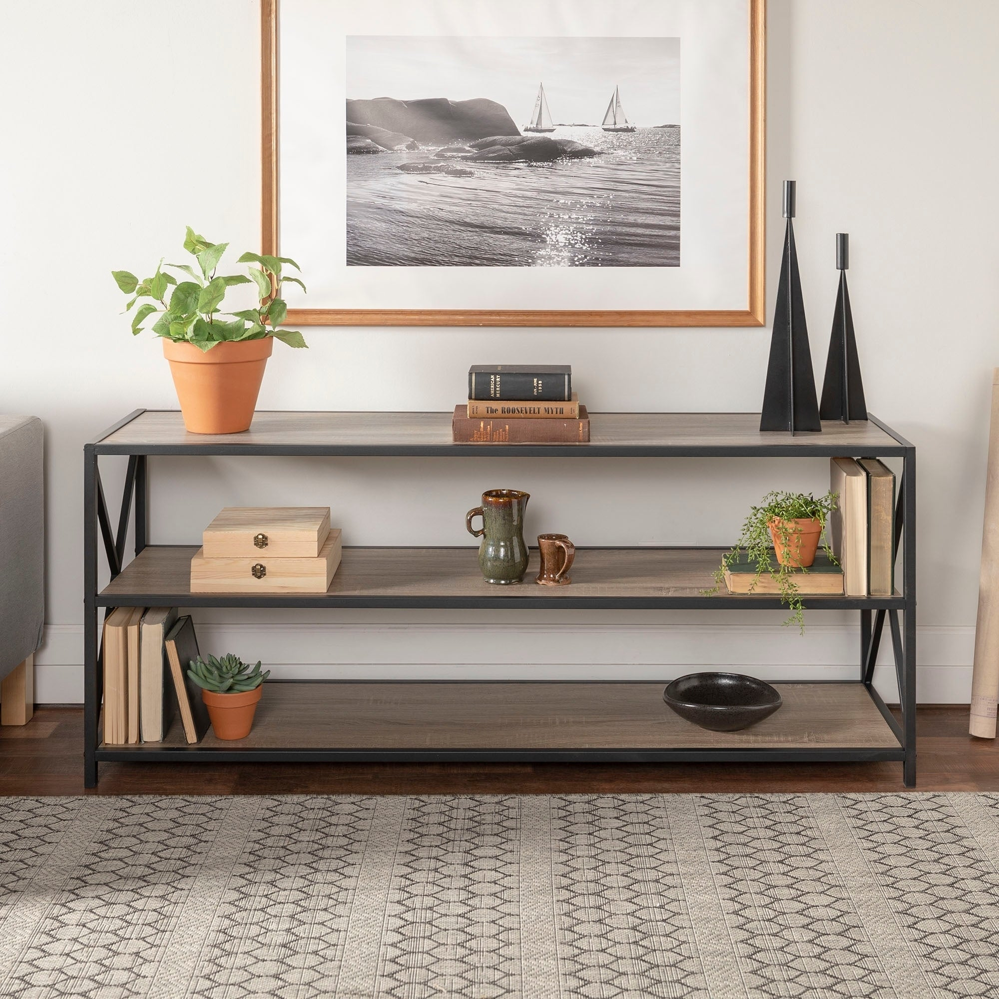 Shop Carbon Loft Hattie X Frame Metal And Wood Media Bookshelf 60