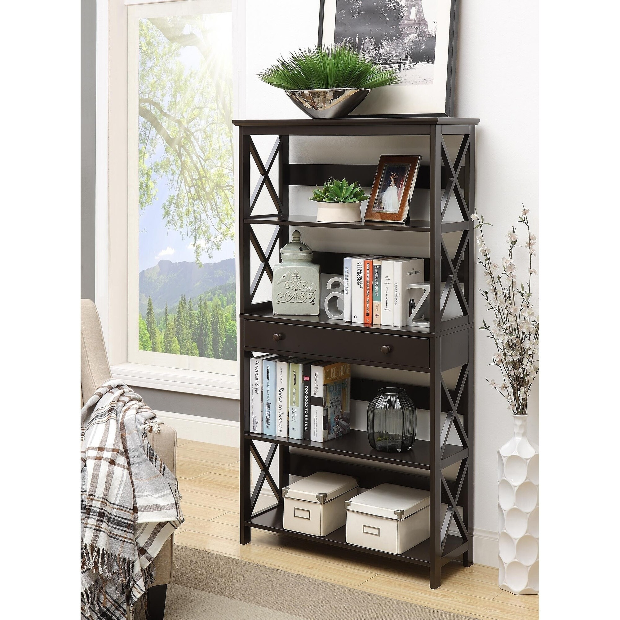 The Gray Barn Pitchfork 5 Tier Bookcase With Drawer  Free