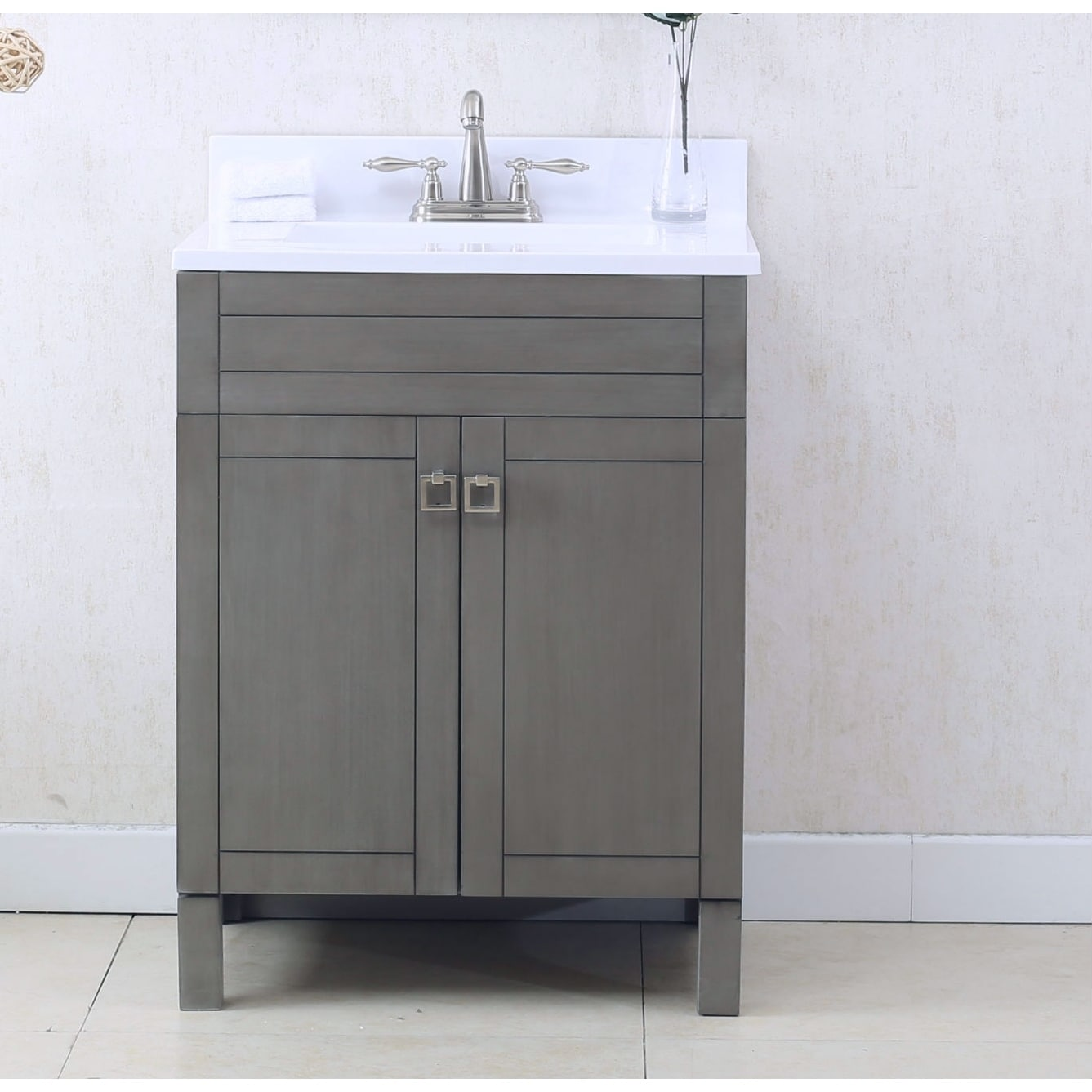 Shop Legion Furniture 25 in. Bathroom Vanity in Silver Gray with Porcelain Top - Free Shipping Today - Overstock.com - 20559681