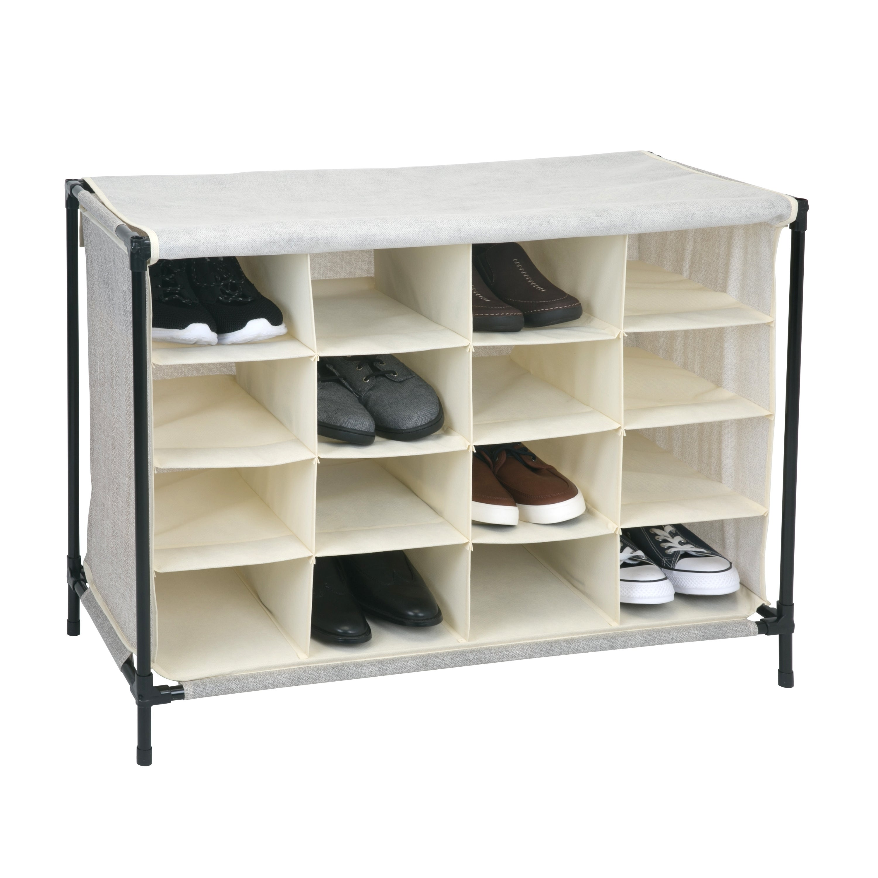 Shop 16 Compartment Shoe Cubby Organizer W/Cover   Fej   Free Shipping On  Orders Over $45   Overstock.com   20563405